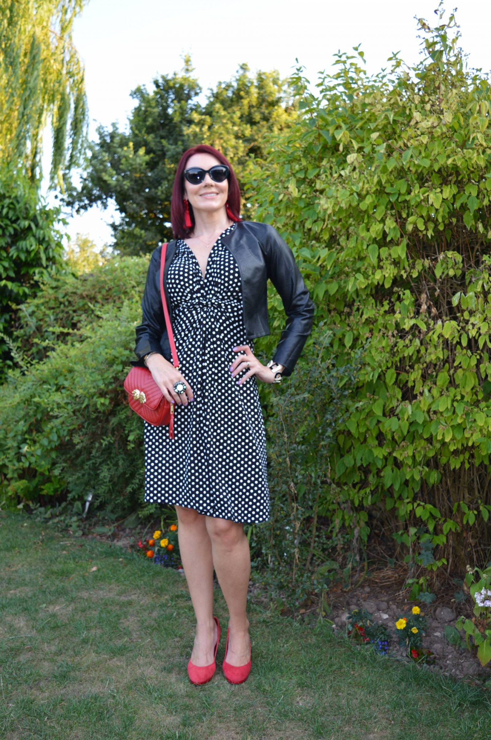 Krisp Black and white polka dot dress