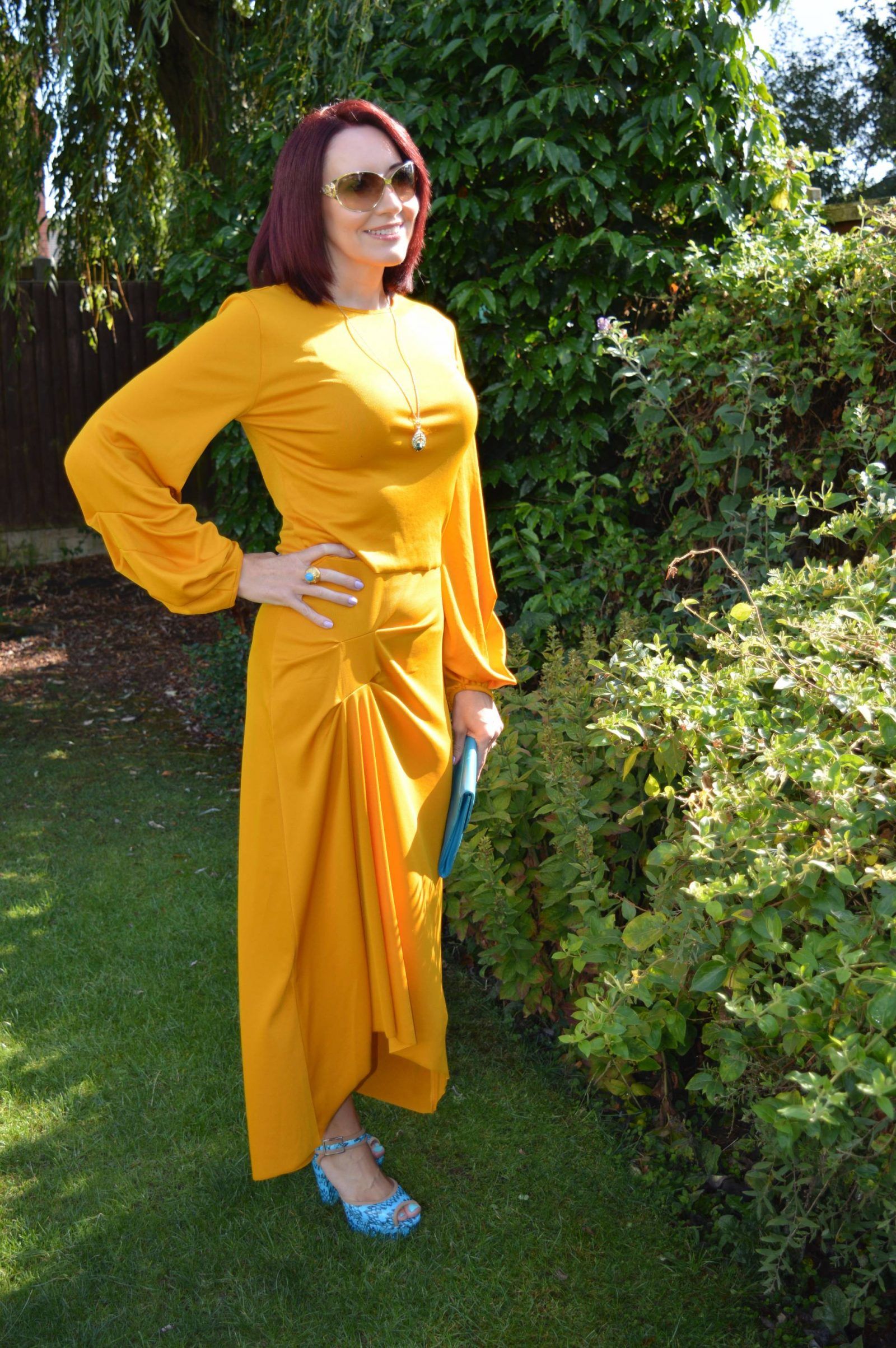 Zara Mustard co-ord with turquoise accessories