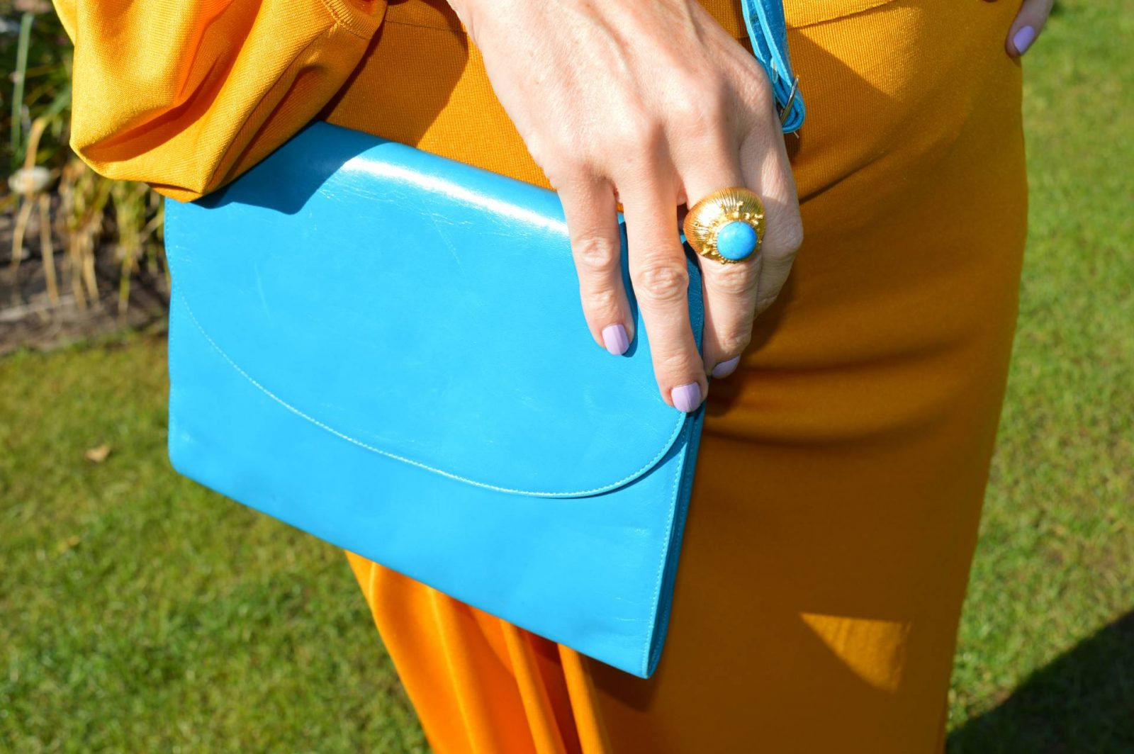 Zara Mustard co-ord with turquoise accessories, Ottoman Hands gold and turquoise ring