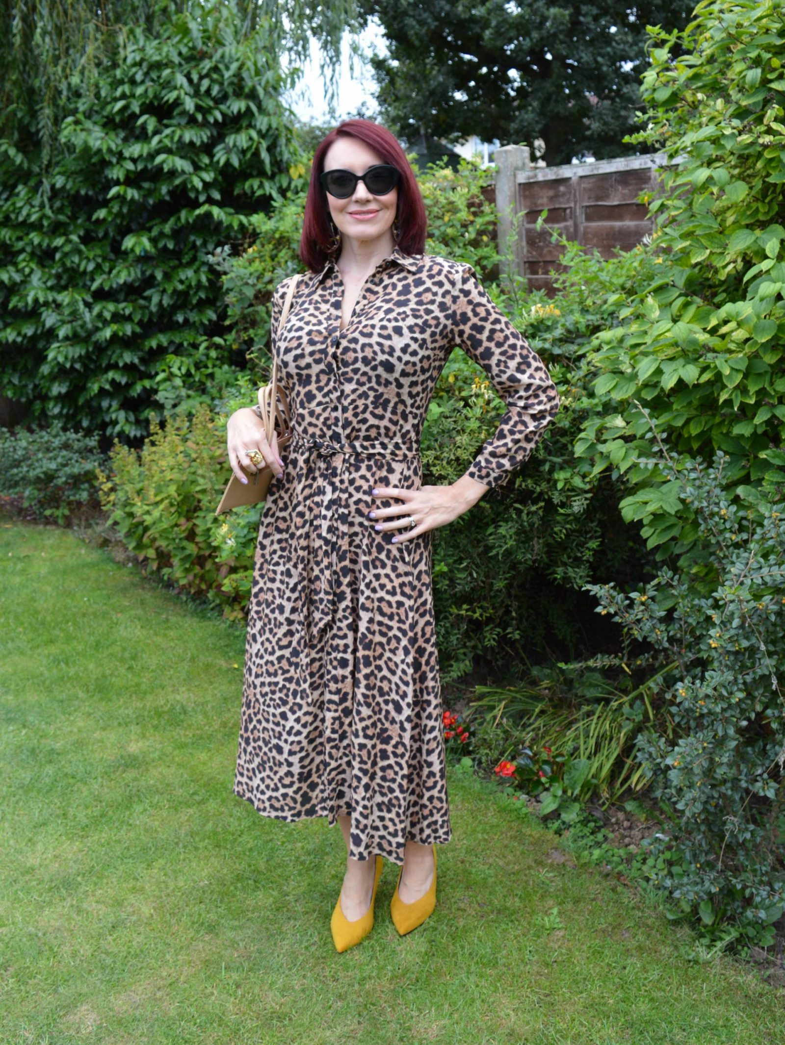 2496ea40d4fe Zara leopard print shirt dress, Marks & Spencer ochre high cut court shoes