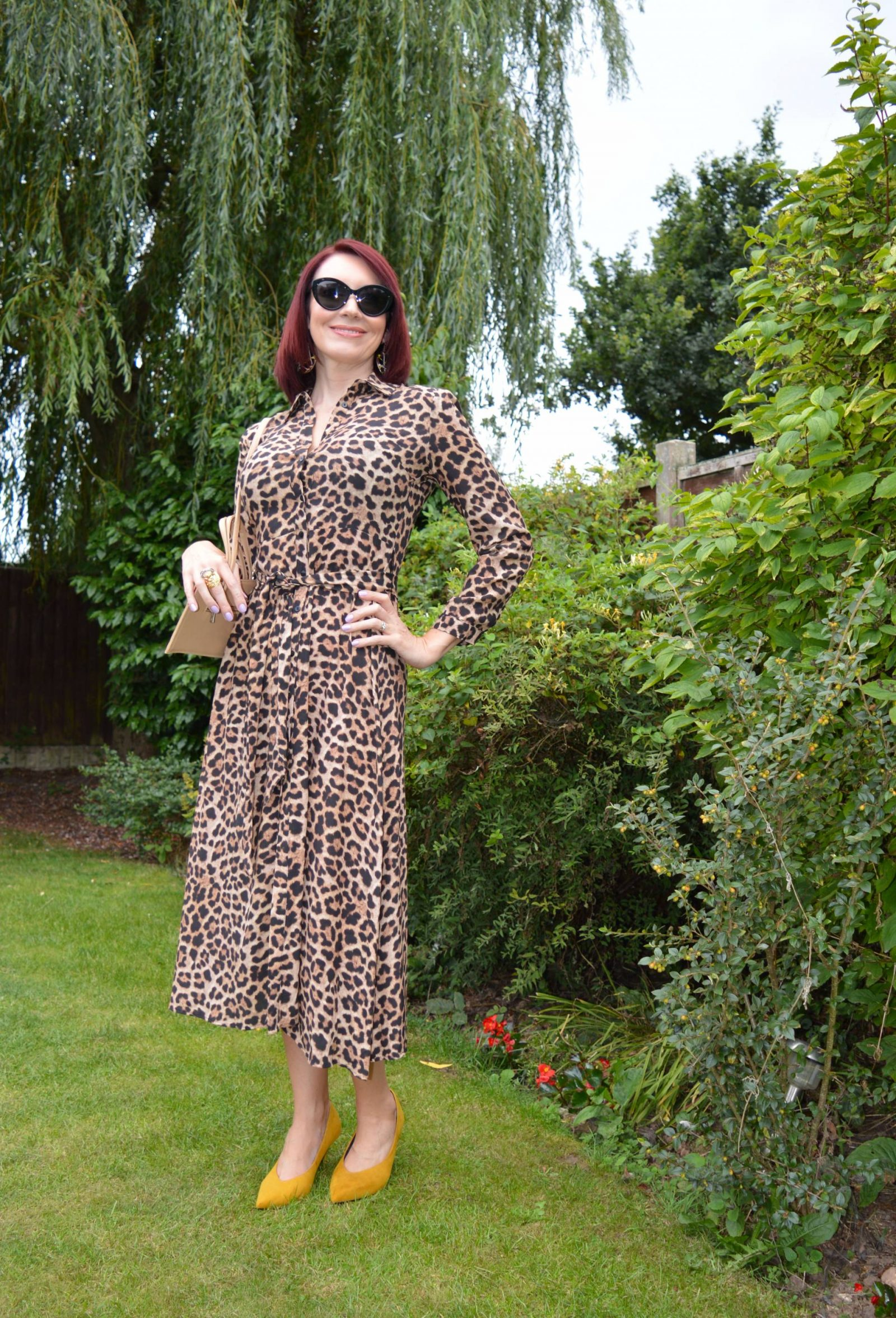Zara leopard print shirt dress, Marks & Spencer ochre high cut court shoes