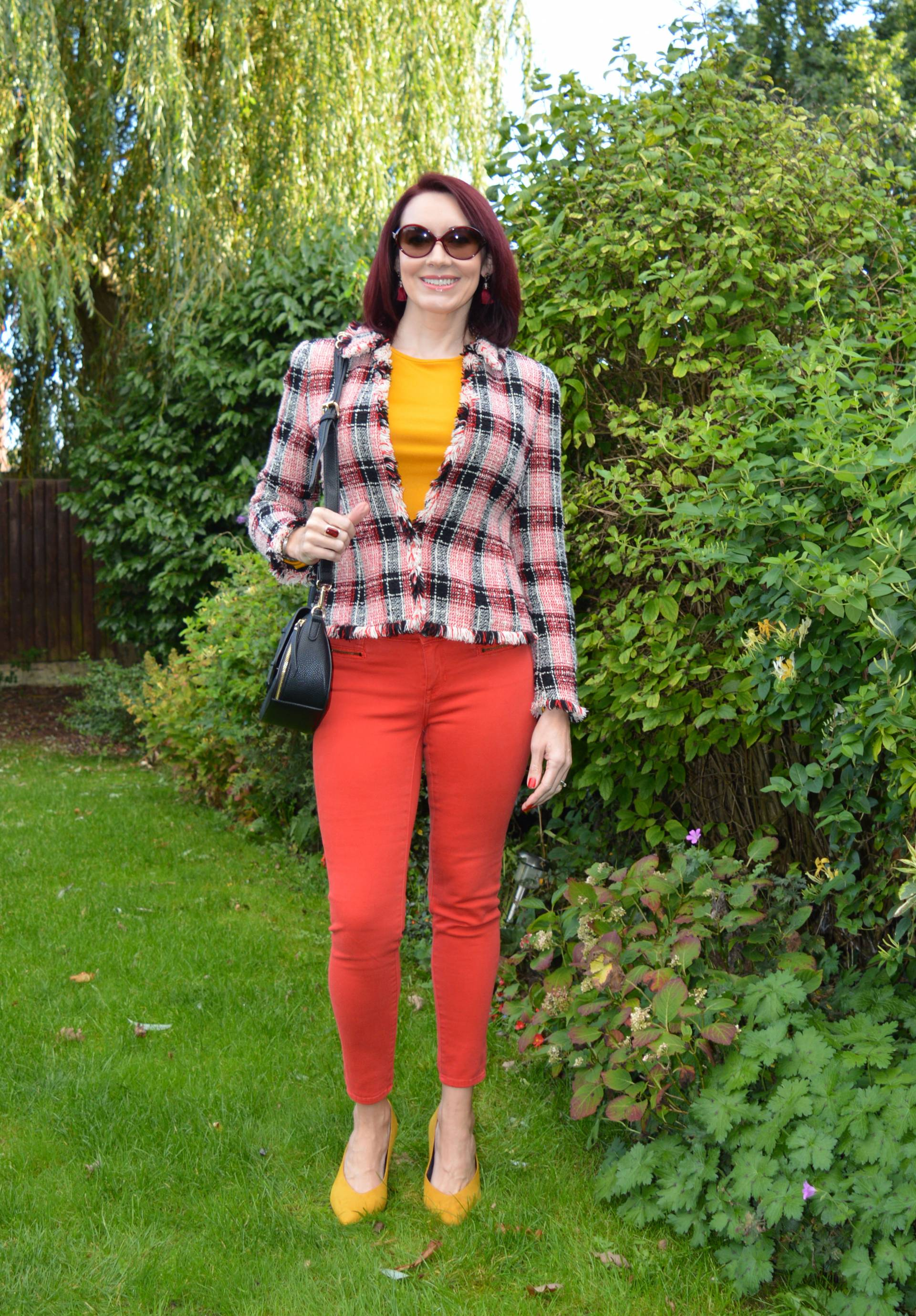 Red jeans, check jacket and a hint of mustard + link up