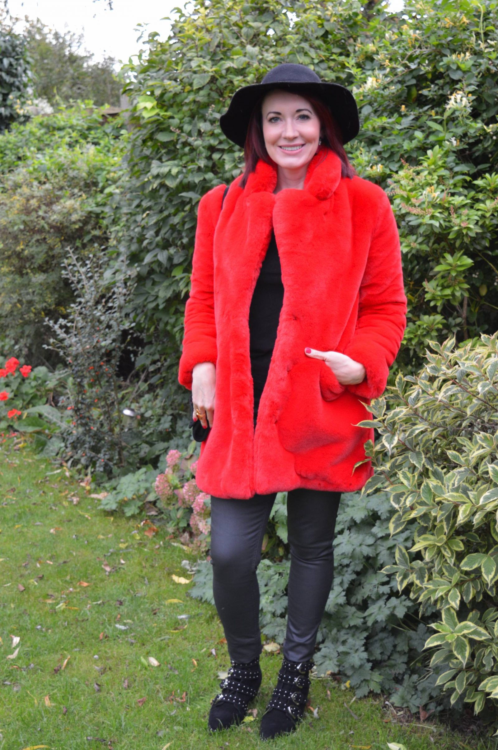 Five major fashion trends for Autumn/Winter 2018 , LOTD red faux fur coat, Truffle Western ankle boots