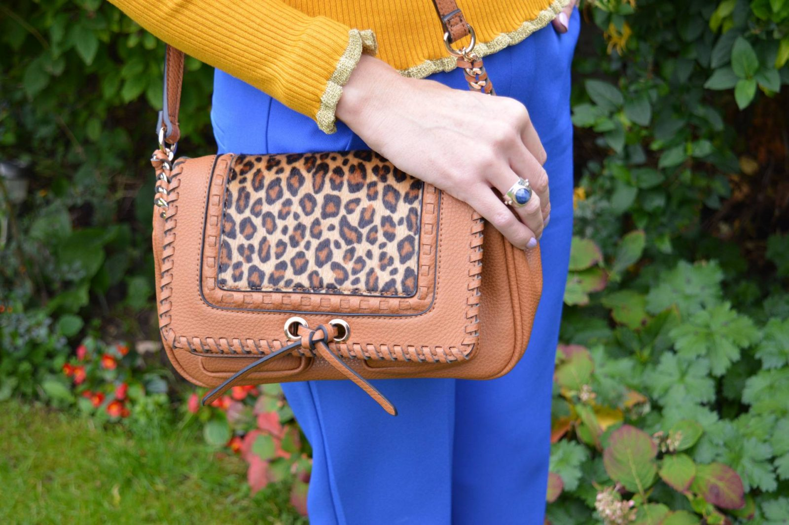 Mixing cobalt and mustard again, Marks and Spencer mustard ribbed jumper River Island cobalt trousers, Scottage tan and leopard print bag