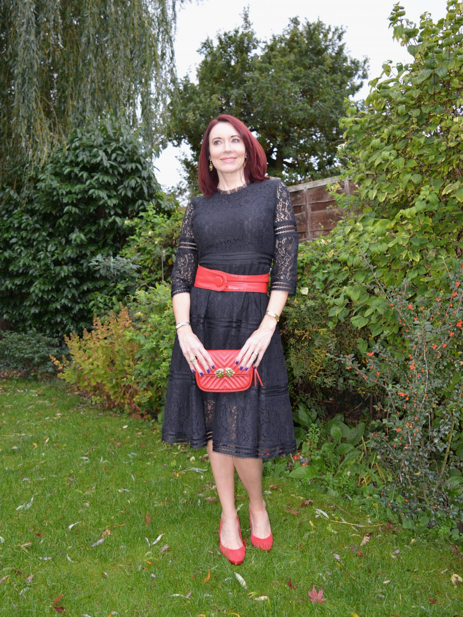 b2849ae8dfc Black lace dress with red accessories + link up