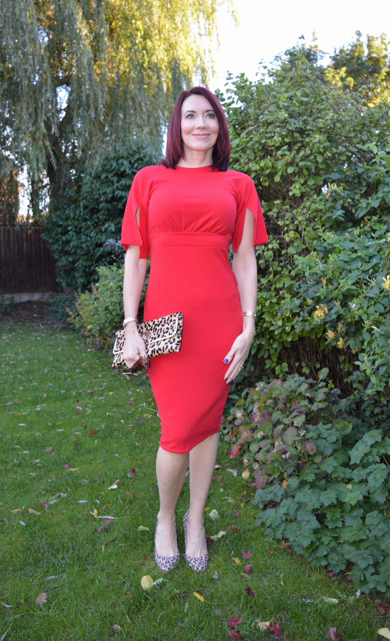 Boohoo Red dress with leopard print accessories