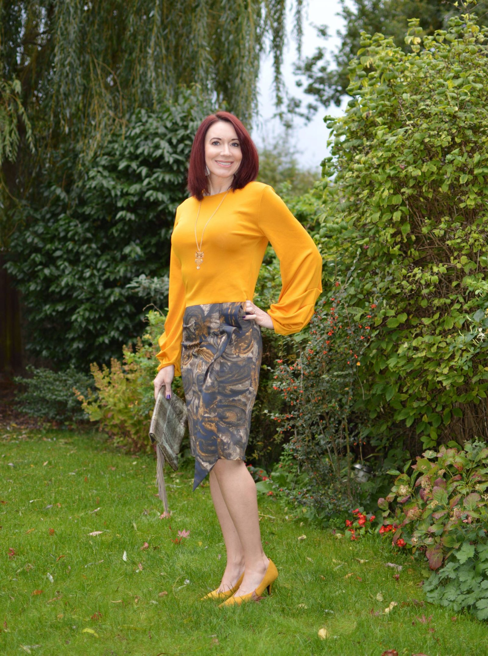 Karen Millen Frill skirt and mustard top