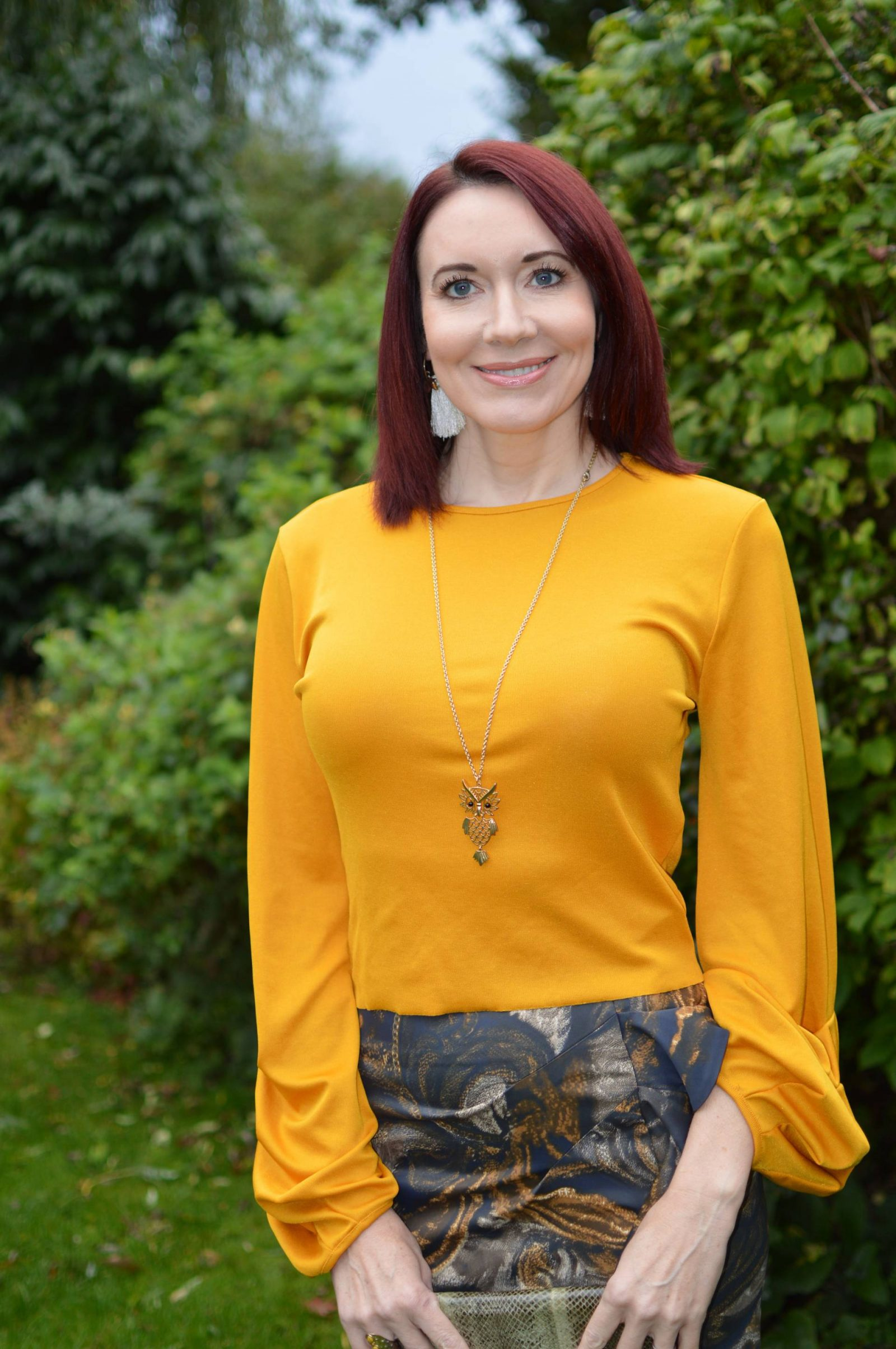 Karen Millen Frill skirt and Zara mustard top, Angel Jackson fringed bag