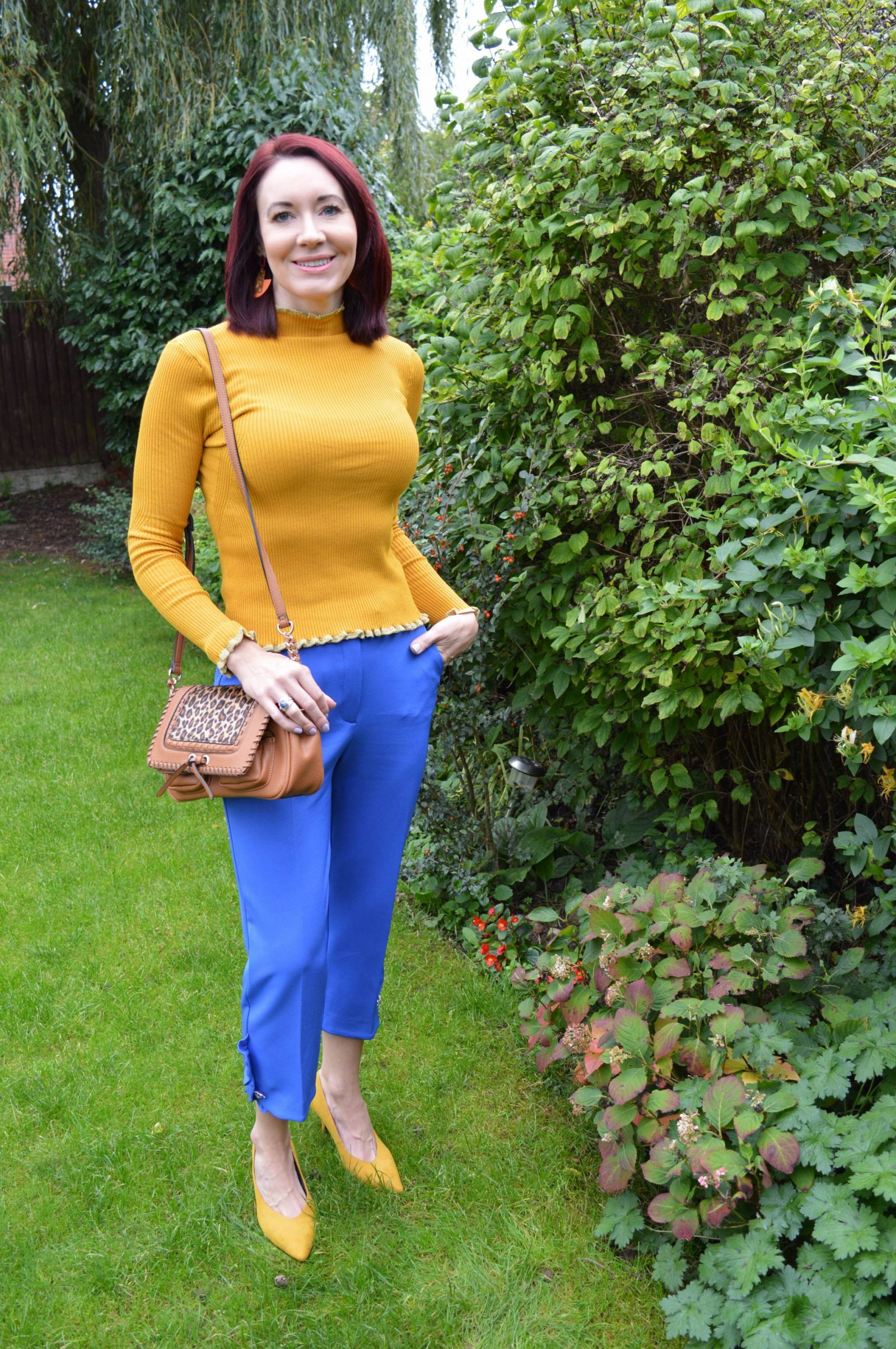 Mixing cobalt and mustard again, Marks and Spencer mustard ribbed jumper River Island cobalt trousers