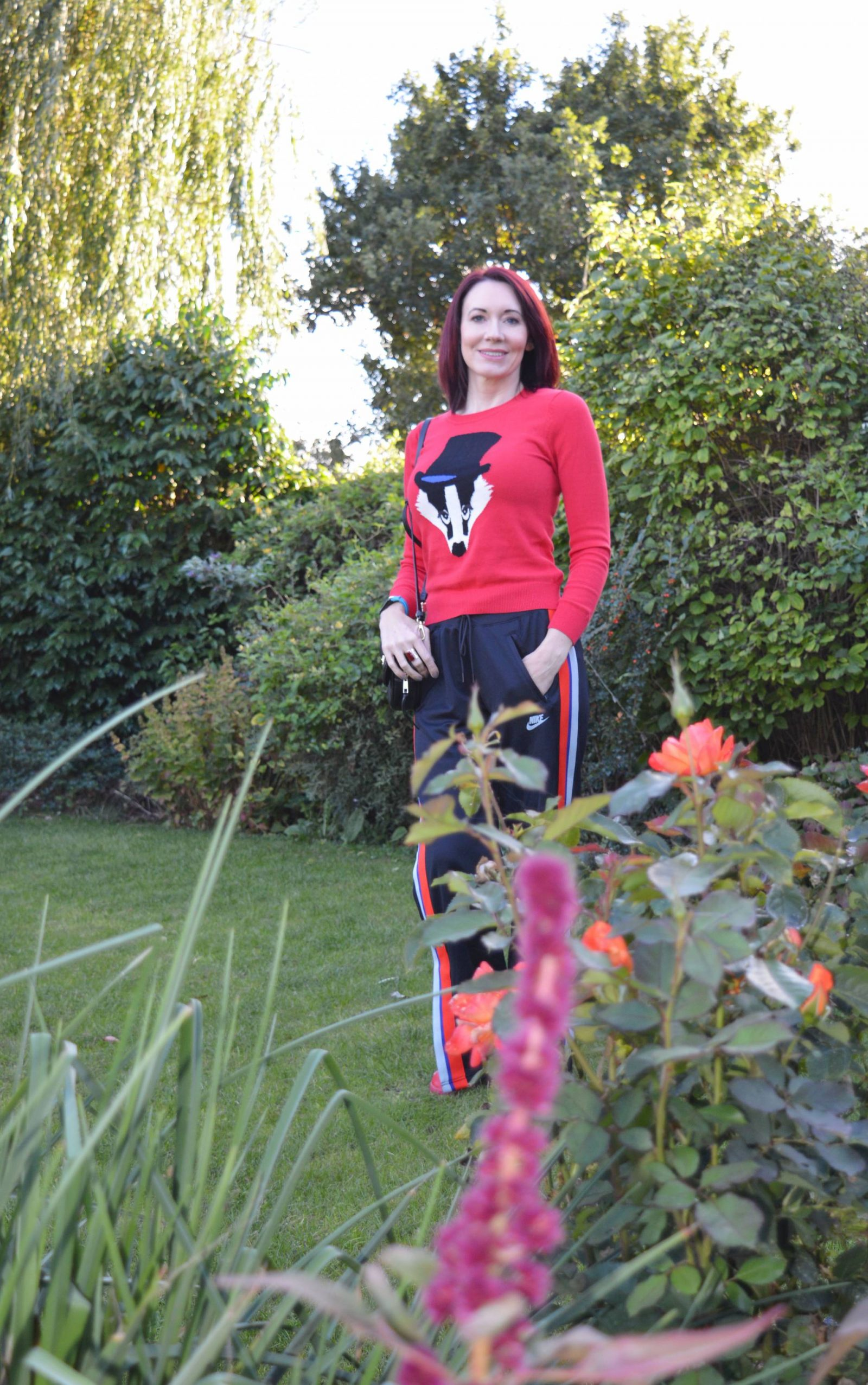 Dressing for comfort in athleisure, badger jumper