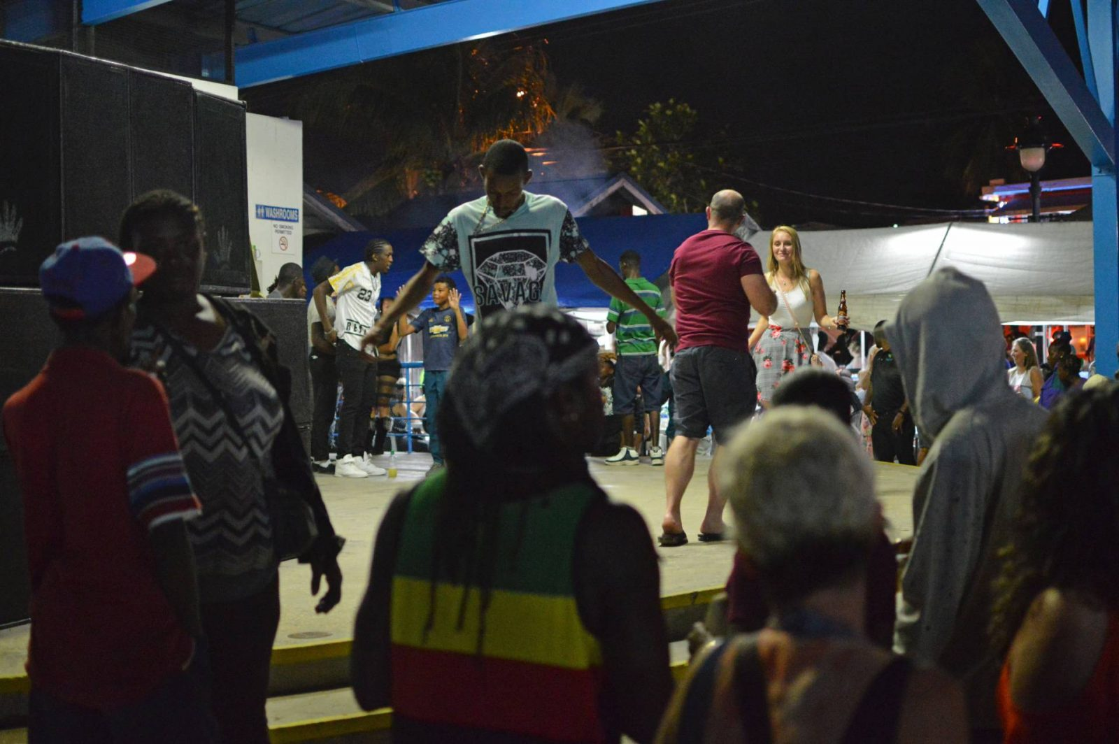 Oistins fish fry, Barbados, dancers on stage