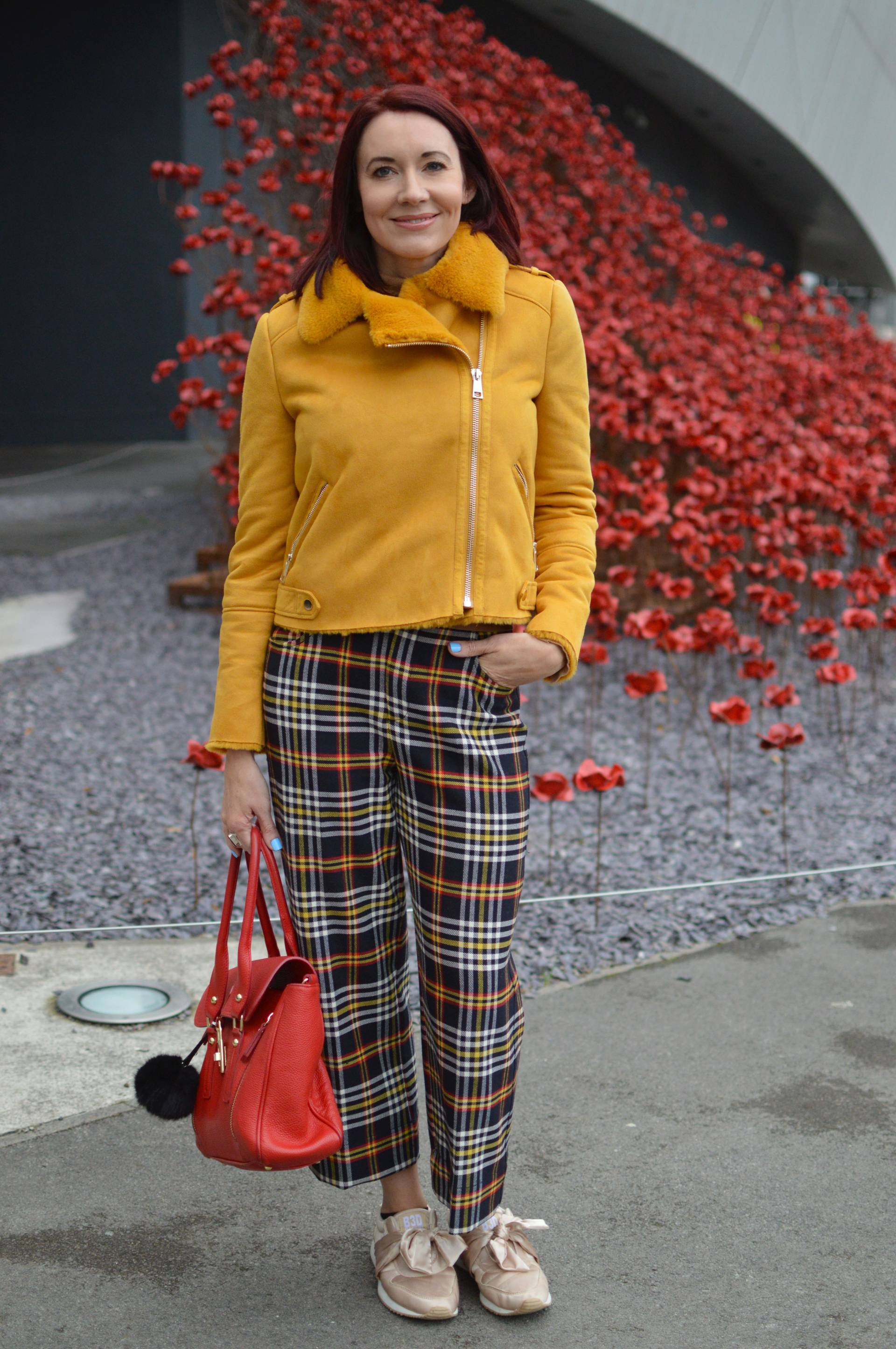 Mustard biker jacket and tartan trousers + link up