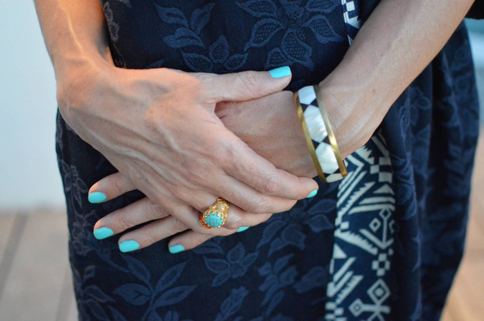 Eva Trends navy shift dress, Ottoman Hands turquoise ring