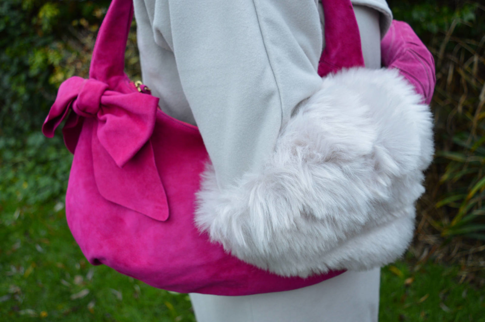 Fabienne Chapot pink hat and grey faux fur trim coat, L.K Bennett pink bag