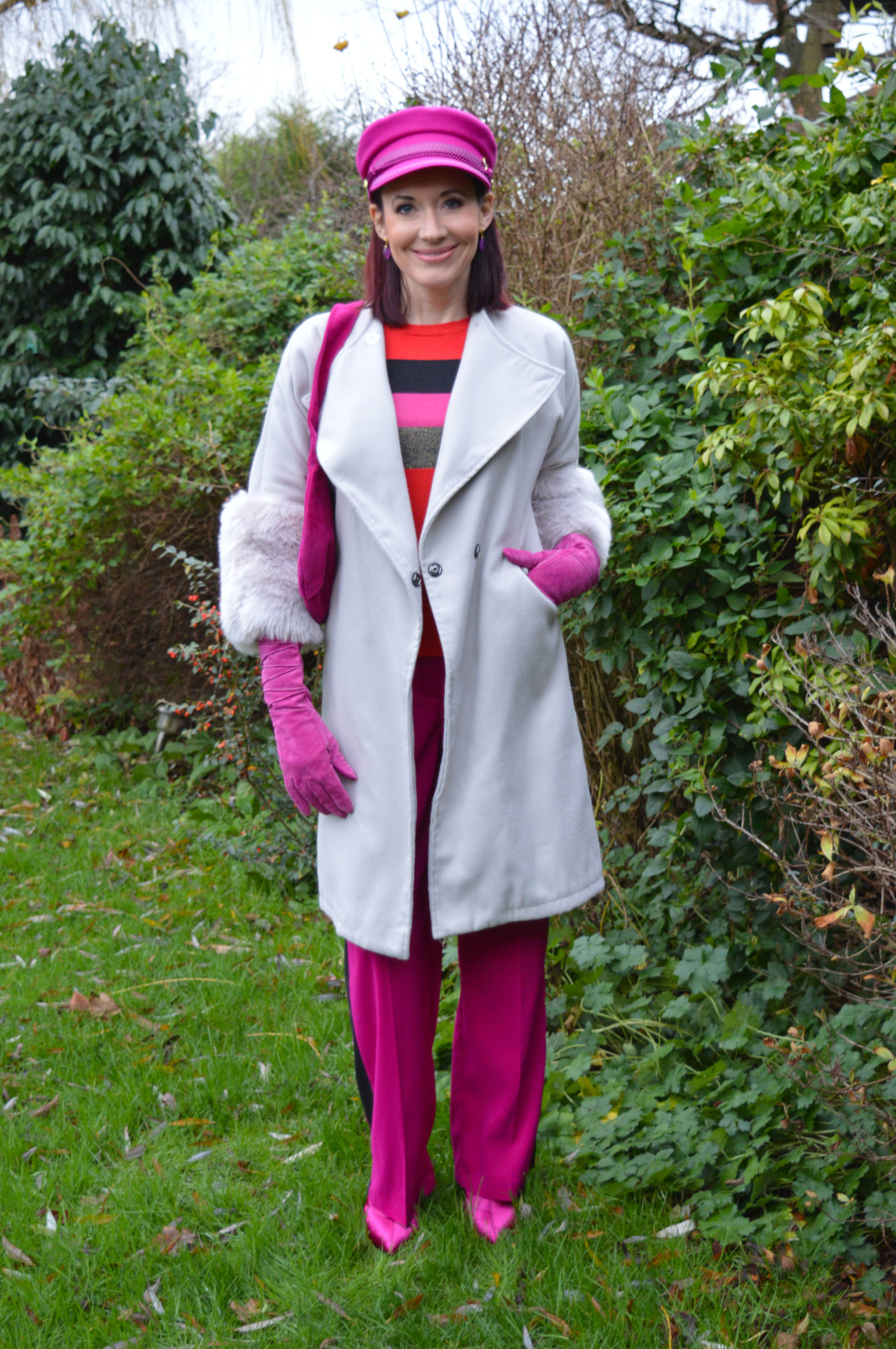 Fabienne Chapot pink hat and grey faux fur trim coat + link up