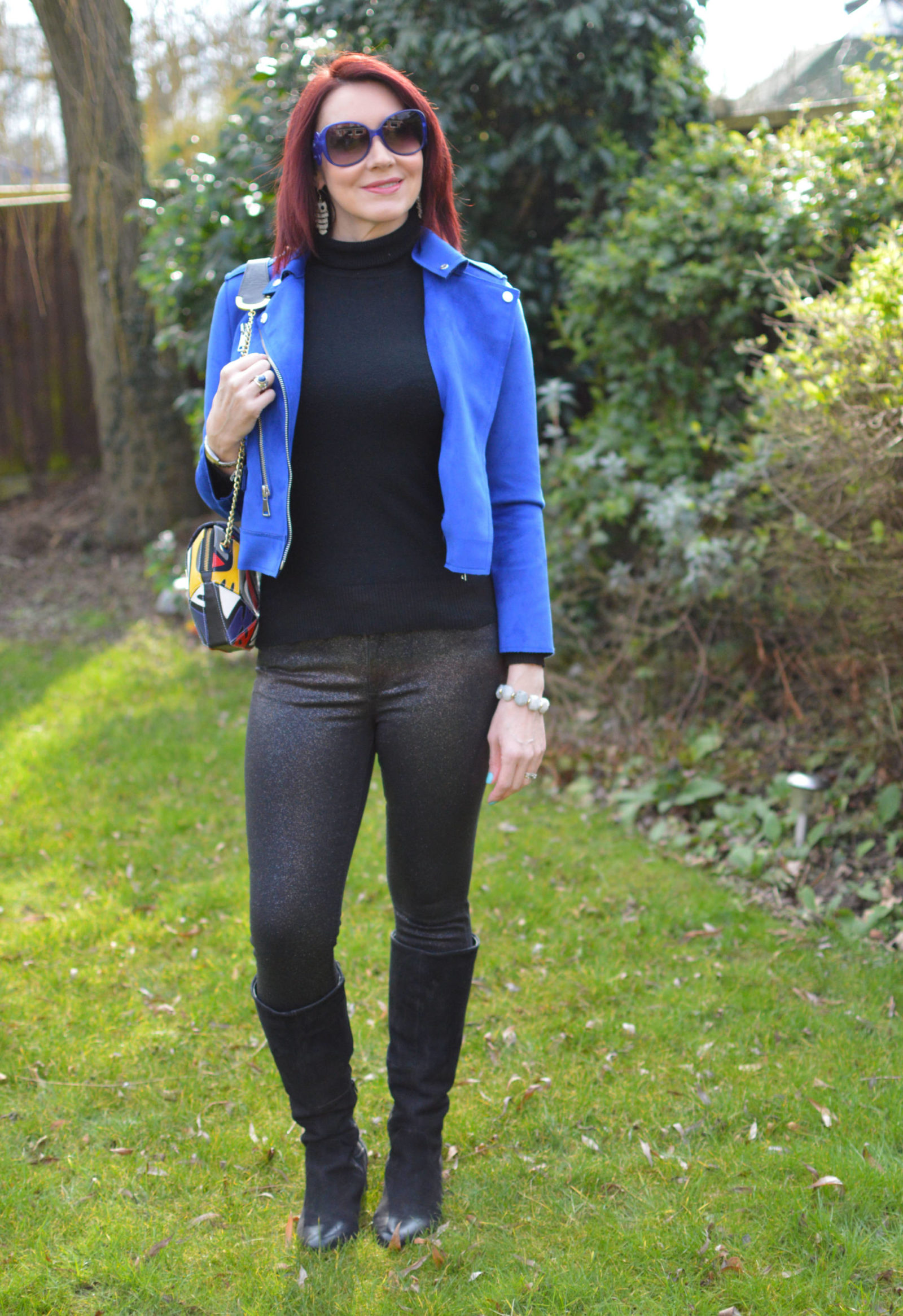 Mango blue biker jacket and glitter skinny jeans