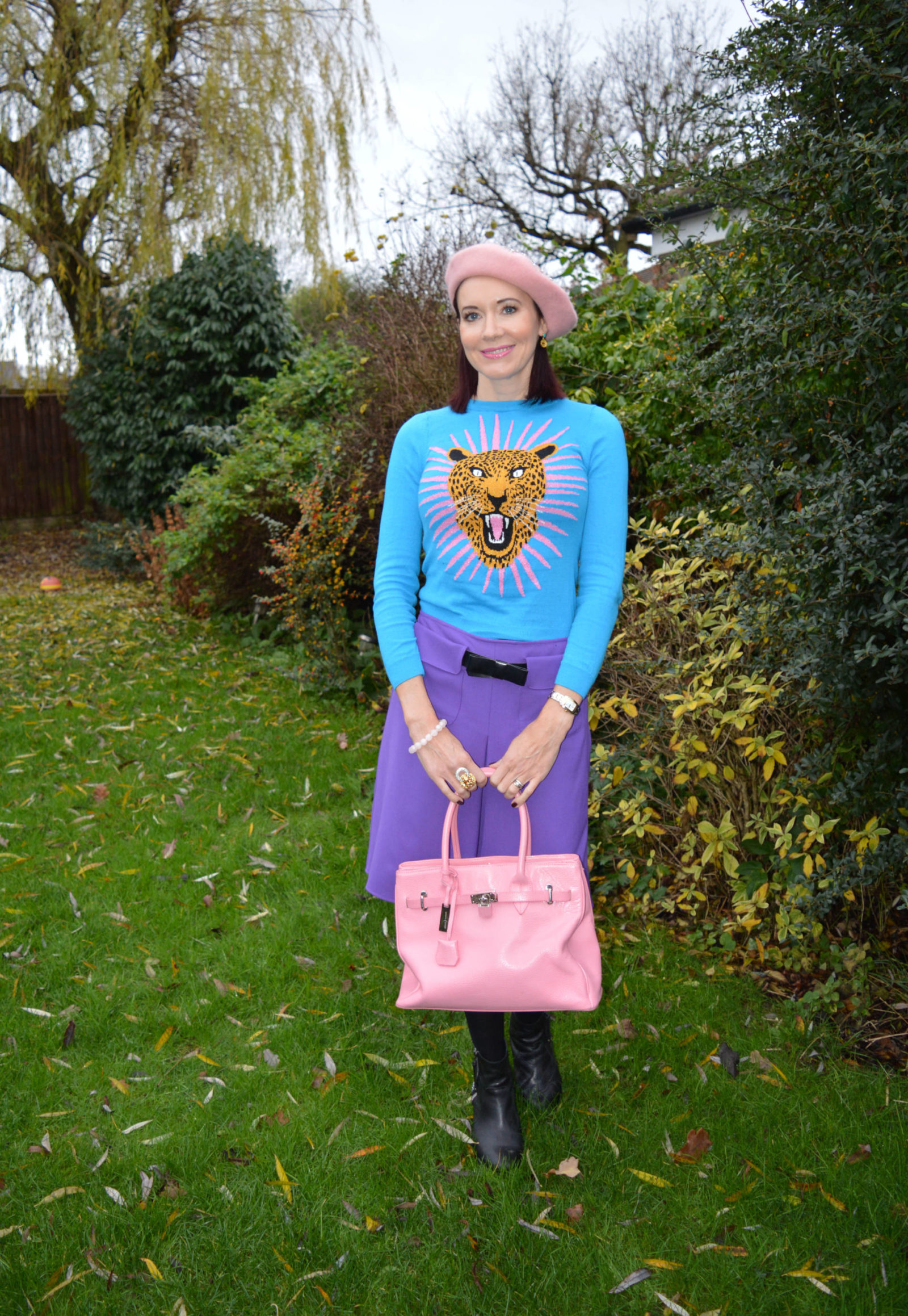 Monki jaguar jumper and purple A line skirt