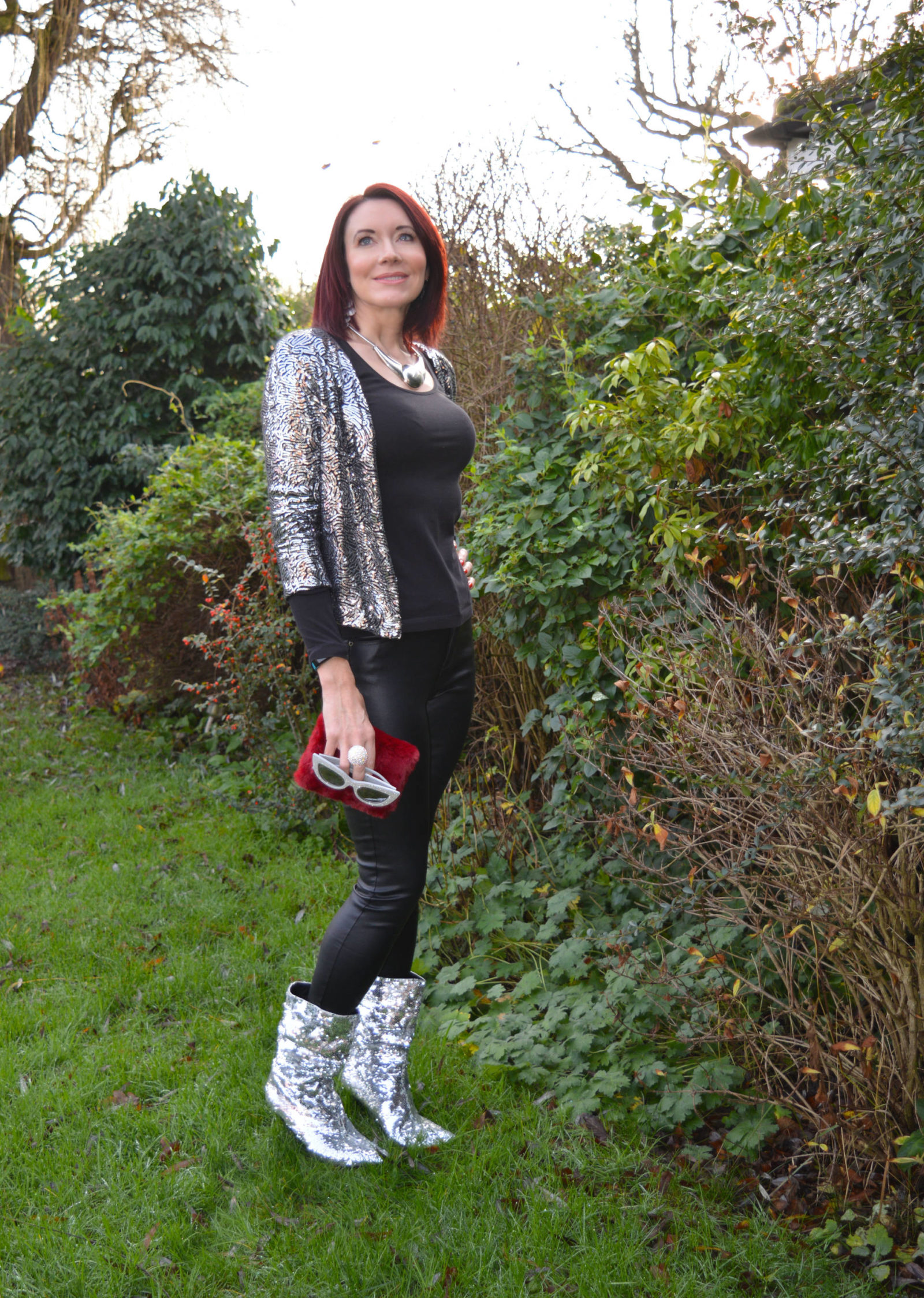 Sequin in the New Year with the Style Not Age collective, sequin jacket, River Island sequin boots