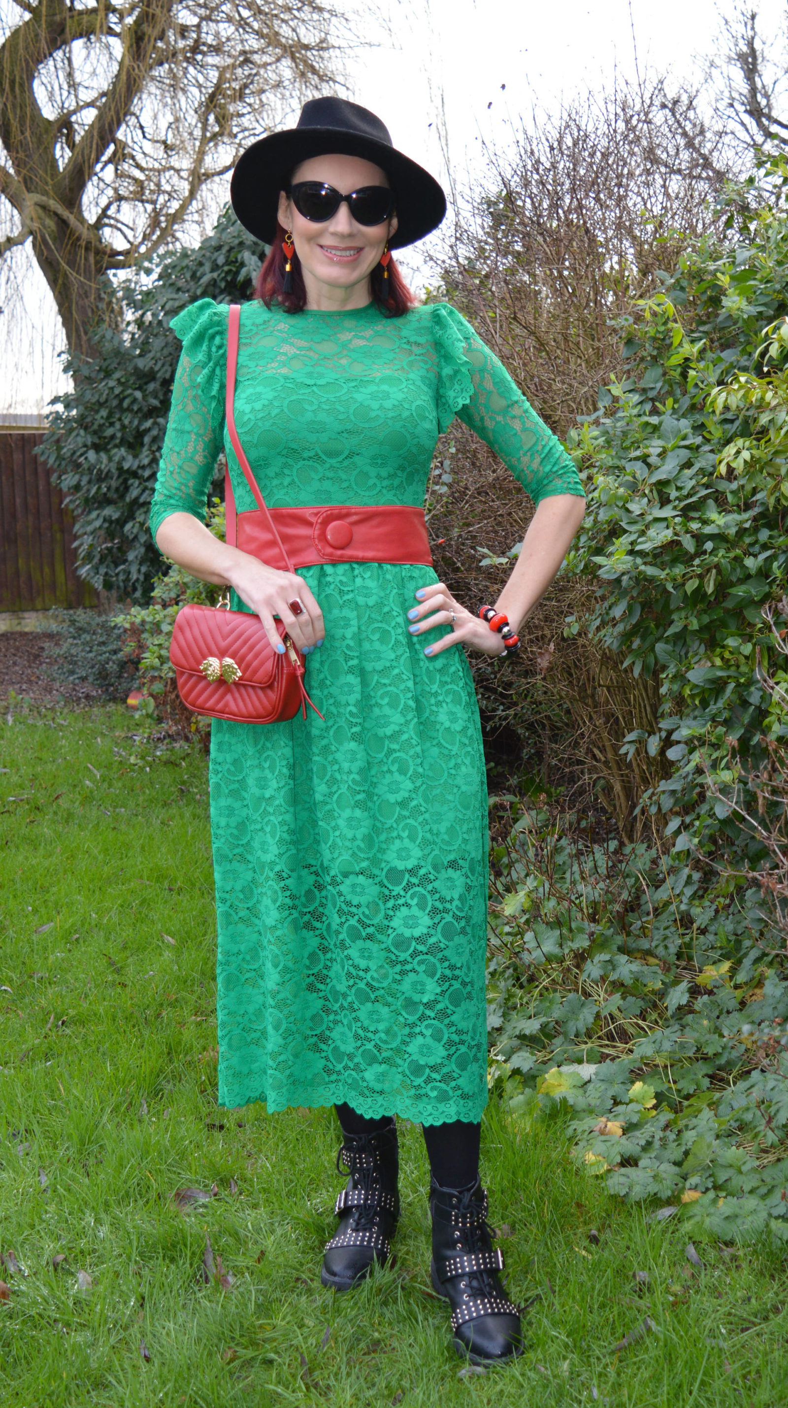 Green lace dress with biker boots