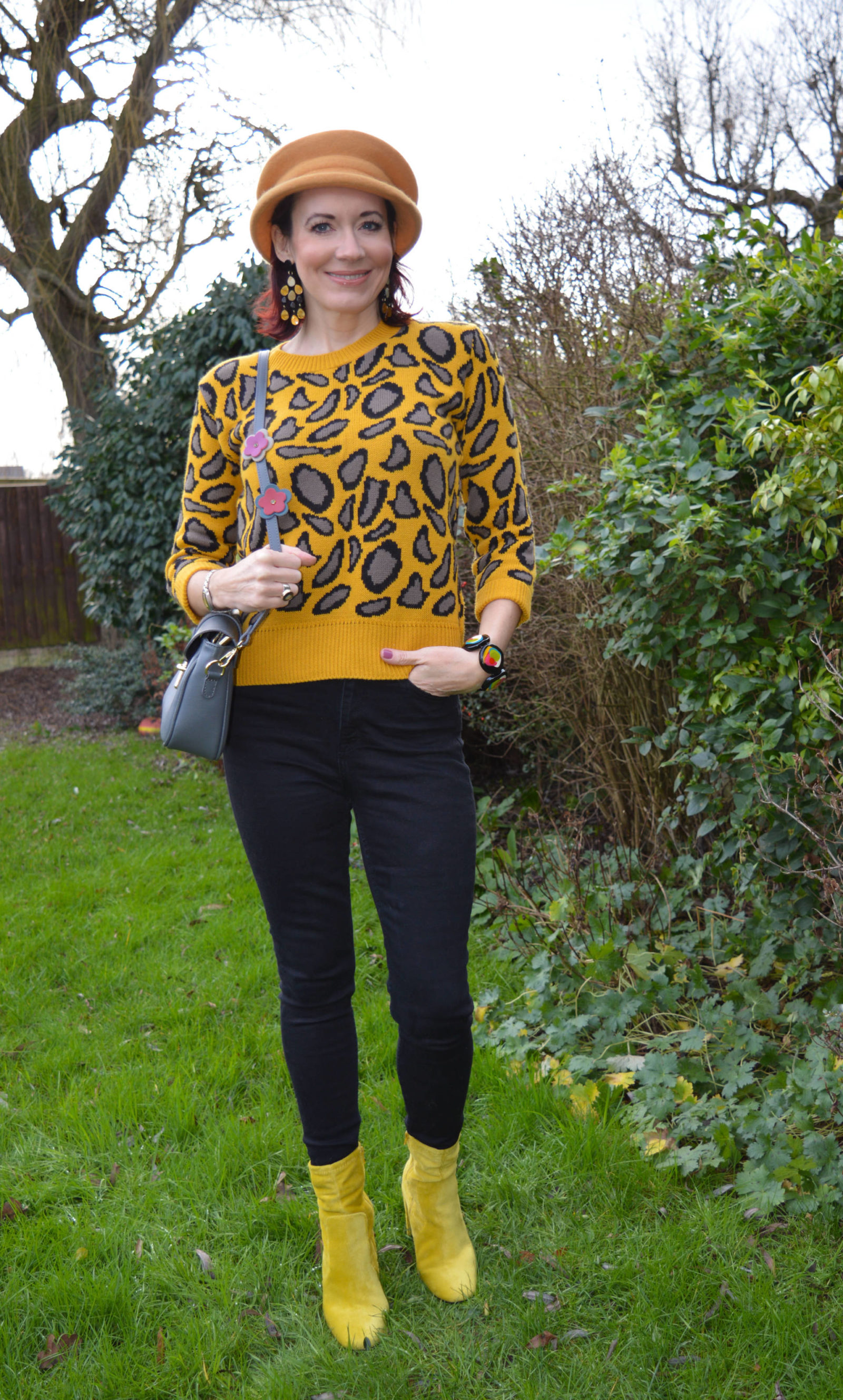 Style Not Age - January Jumpers, mustard leopard print jumper, Mango black high waist jeans, River Island yellow boots