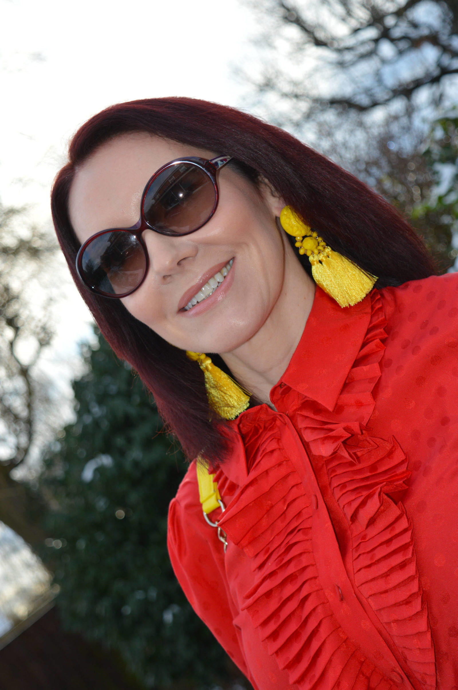 Stylish Mondays - Ladies in Red, And Other Stories red frill blouse, yellow tassel earrings