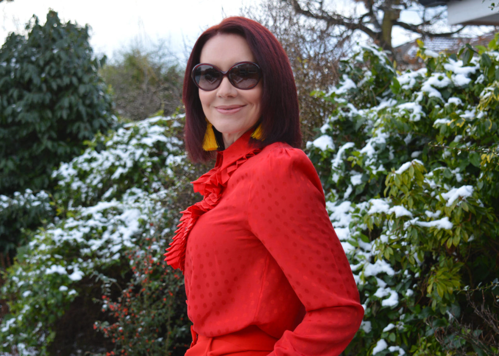 Stylish Mondays - Ladies in Red, And Other Stories red frill blouse