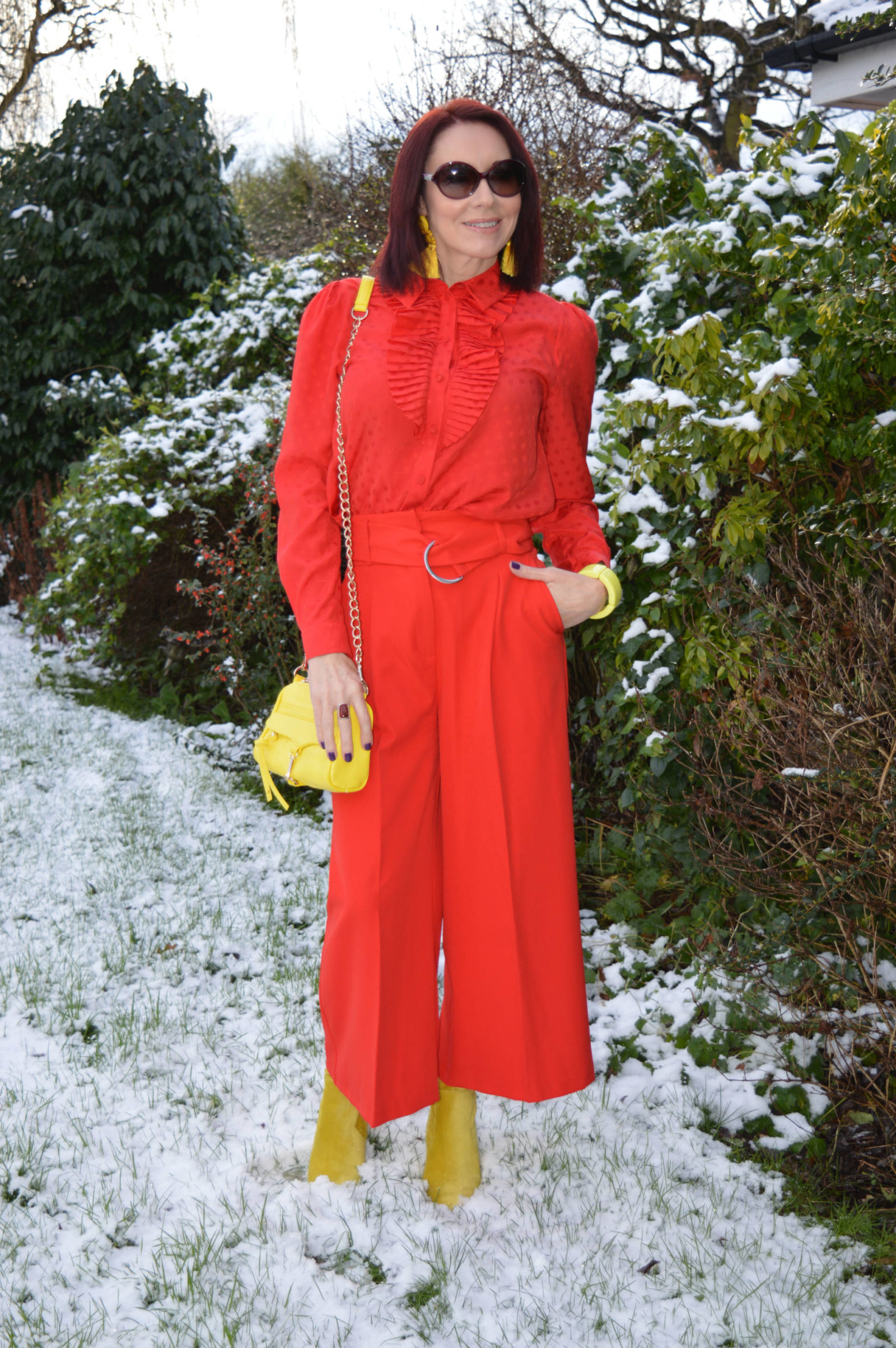 Stylish Mondays - Ladies in Red, And Other Stories red frill blouse, Asos red culottes