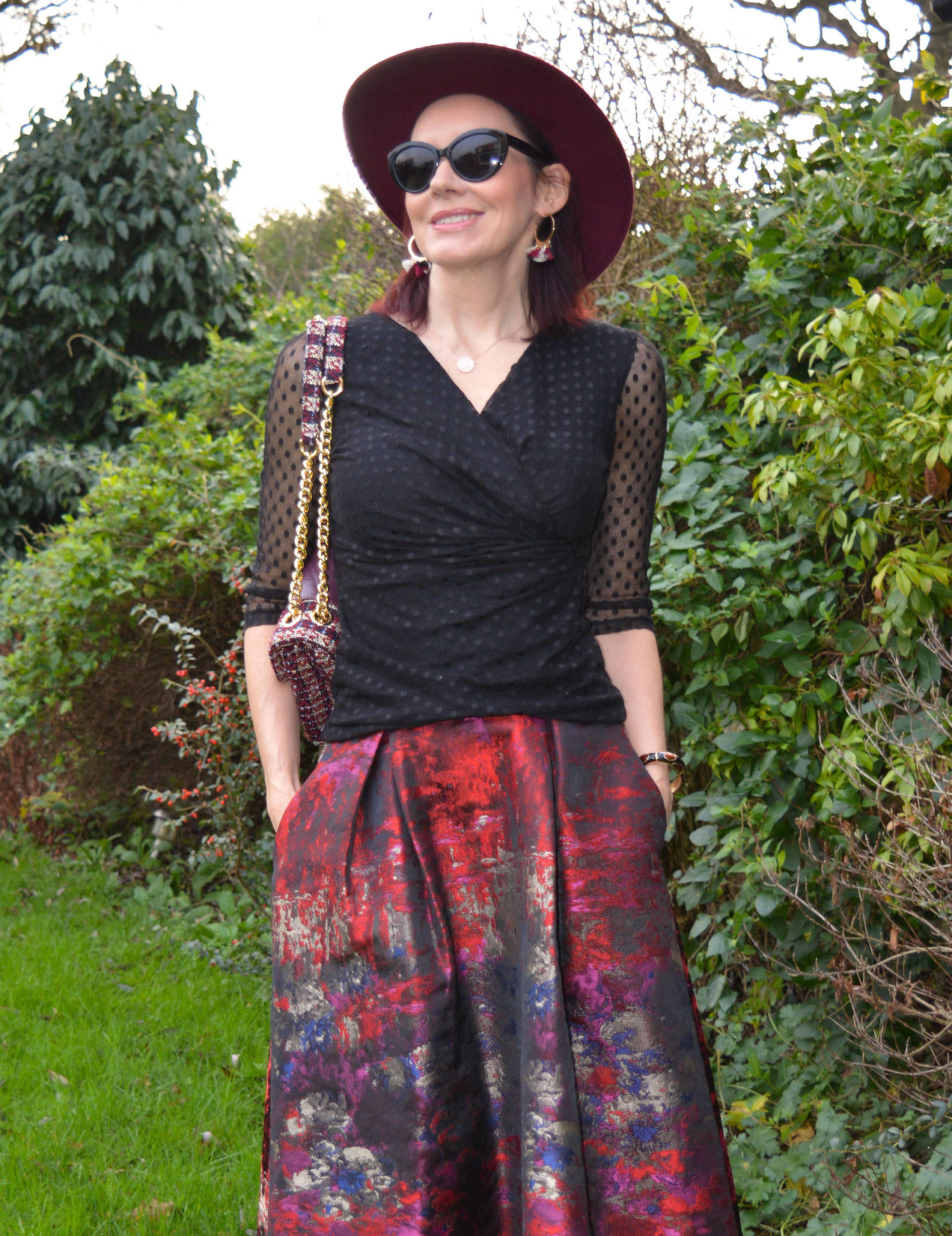 FitFlop sock boots and Joanna Hope jacquard maxi skirt