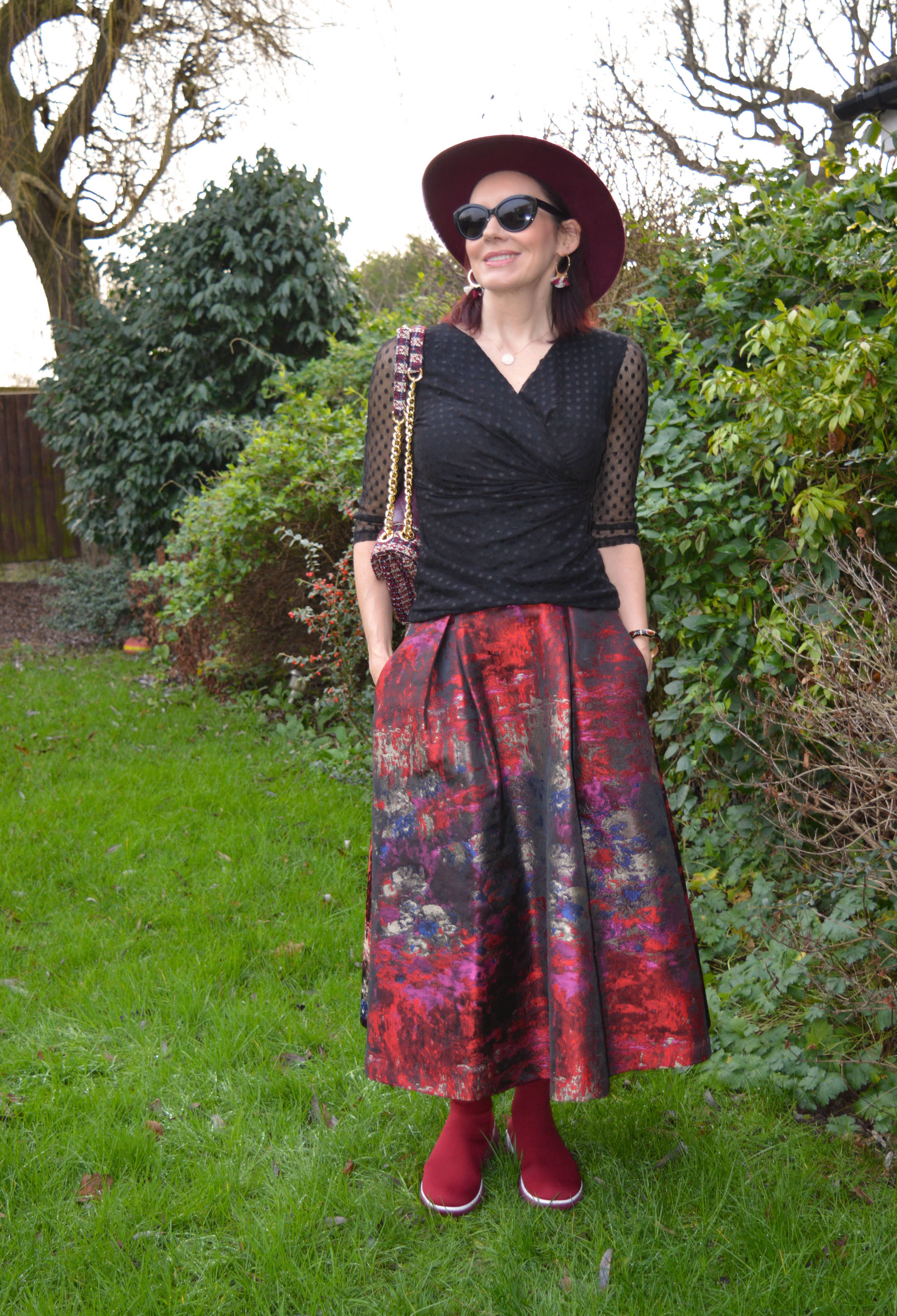 FitFlop sock boots and jacquard maxi skirt + Style With a Smile link up