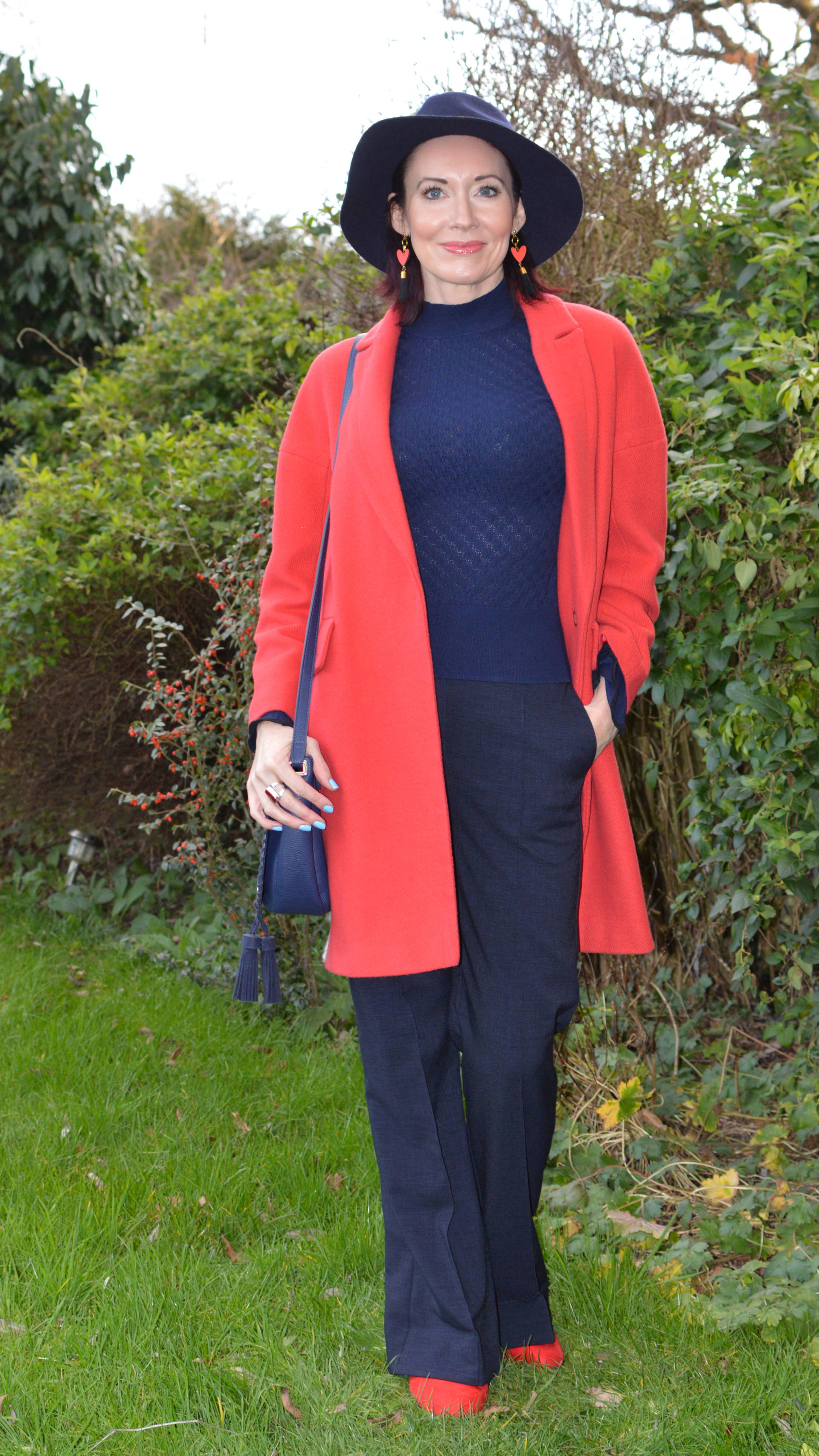 Classic navy trousers and sweater with a red coat + Style With a Smile link up