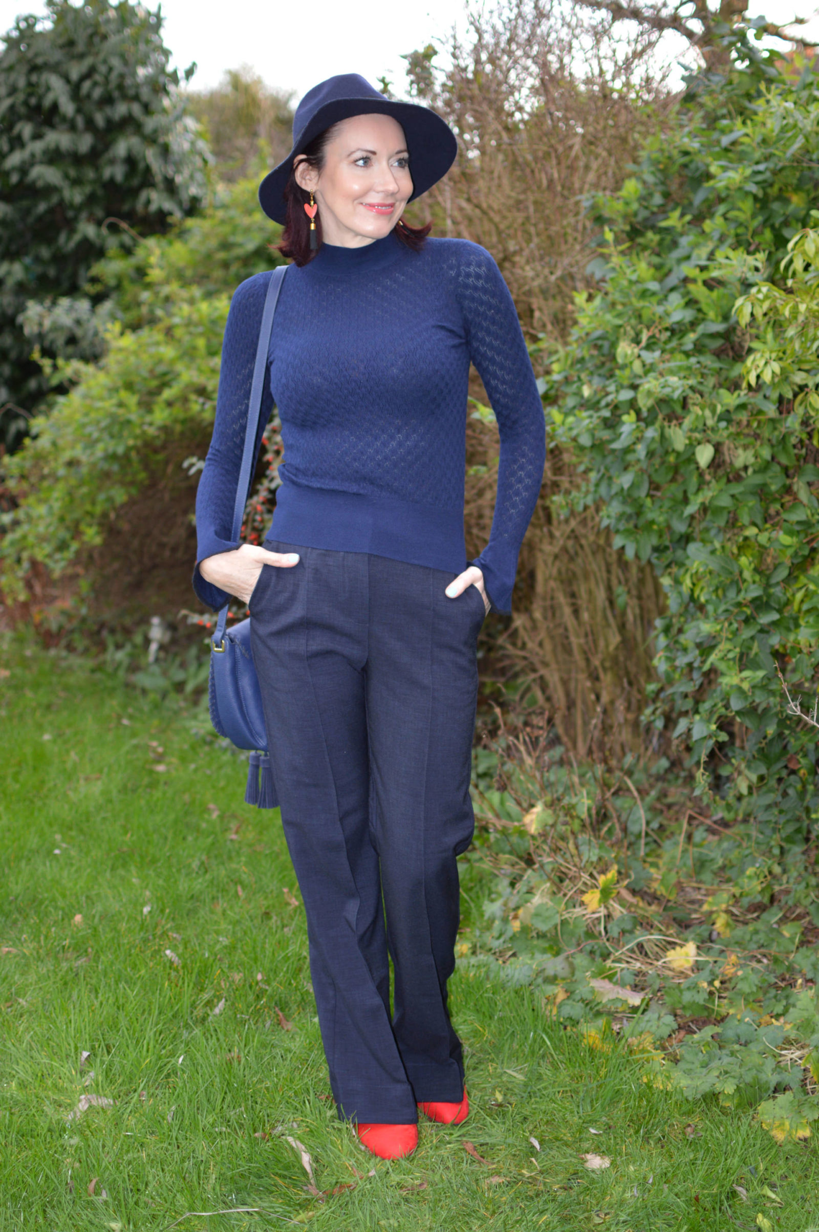 Finery navy trousers, Warehouse pointelle sweater, Laura Ashley navy tassel bag