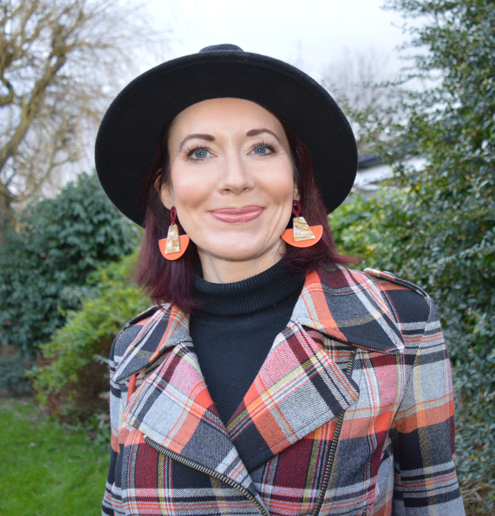 French Connection Tartan jacket, Mango orange resin earrings