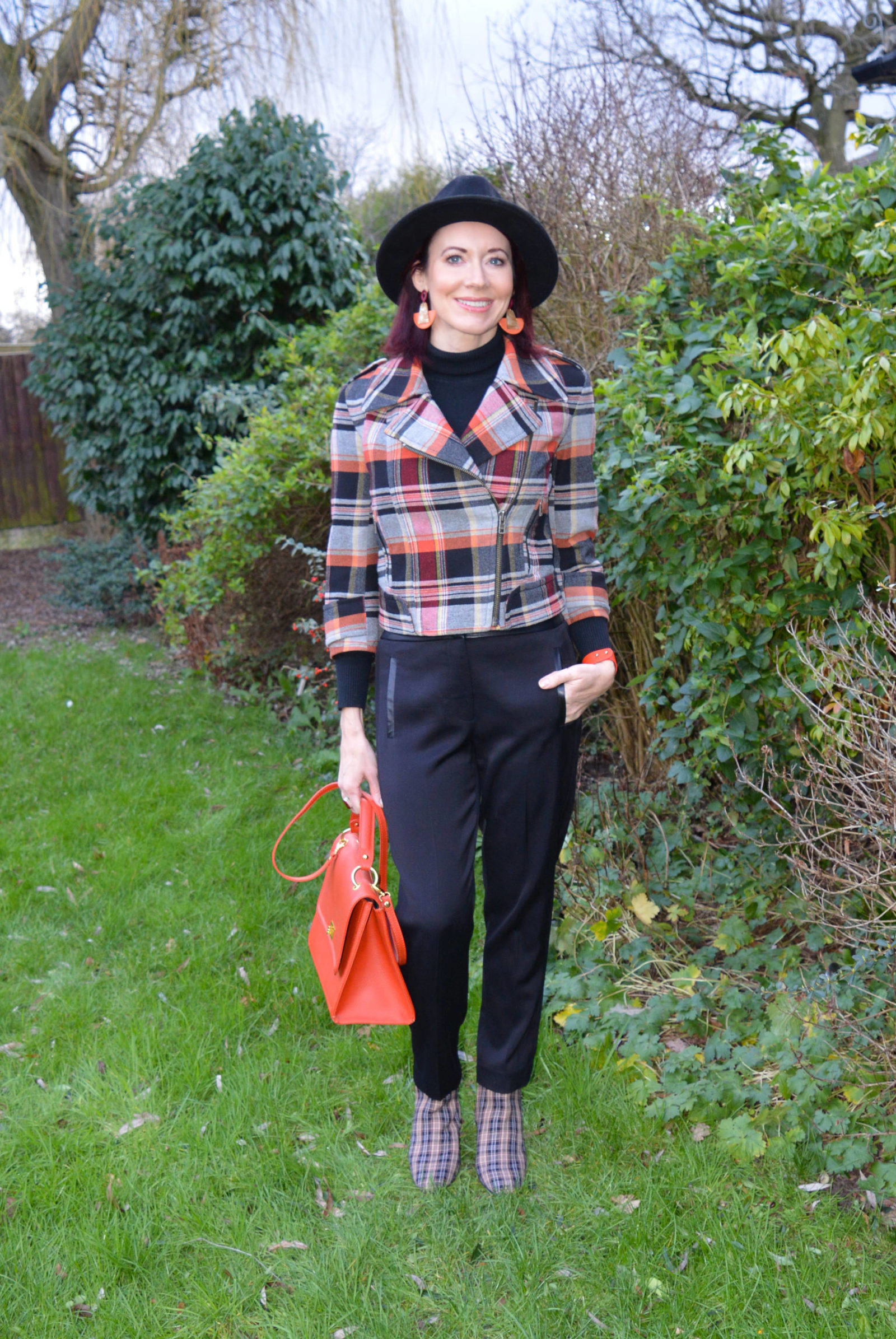 French Connection Tartan jacket and check ankle boots