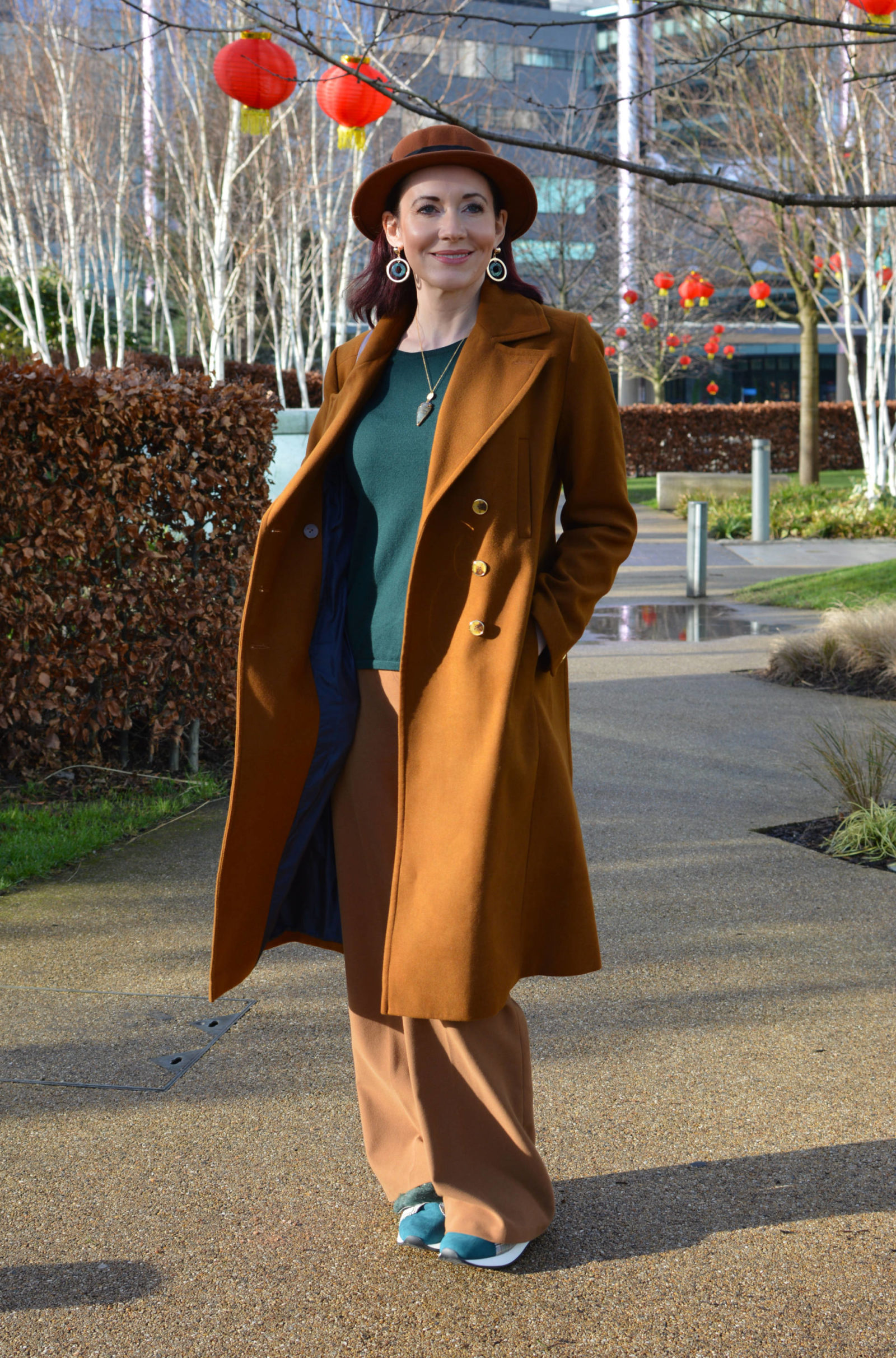 Warm browns with dark green and aubergine, Oasis brown coat, Jennifer Hamley Model KT aubergine bag