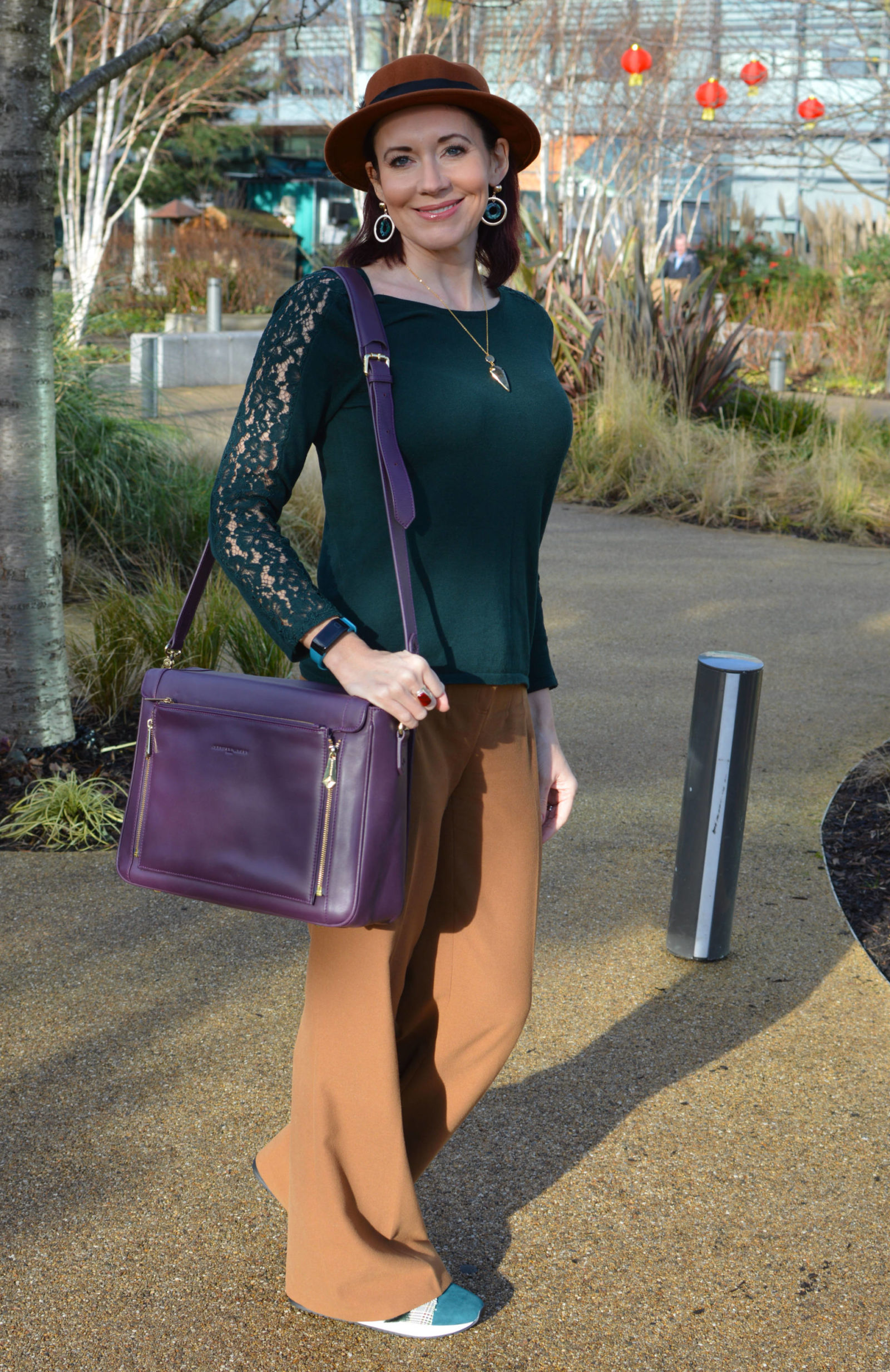 Warm browns with dark green and aubergine, Oasis brown coat, Laura Ashley green lace sleeve jumper, Jennifer Hamley Model KT aubergine bag