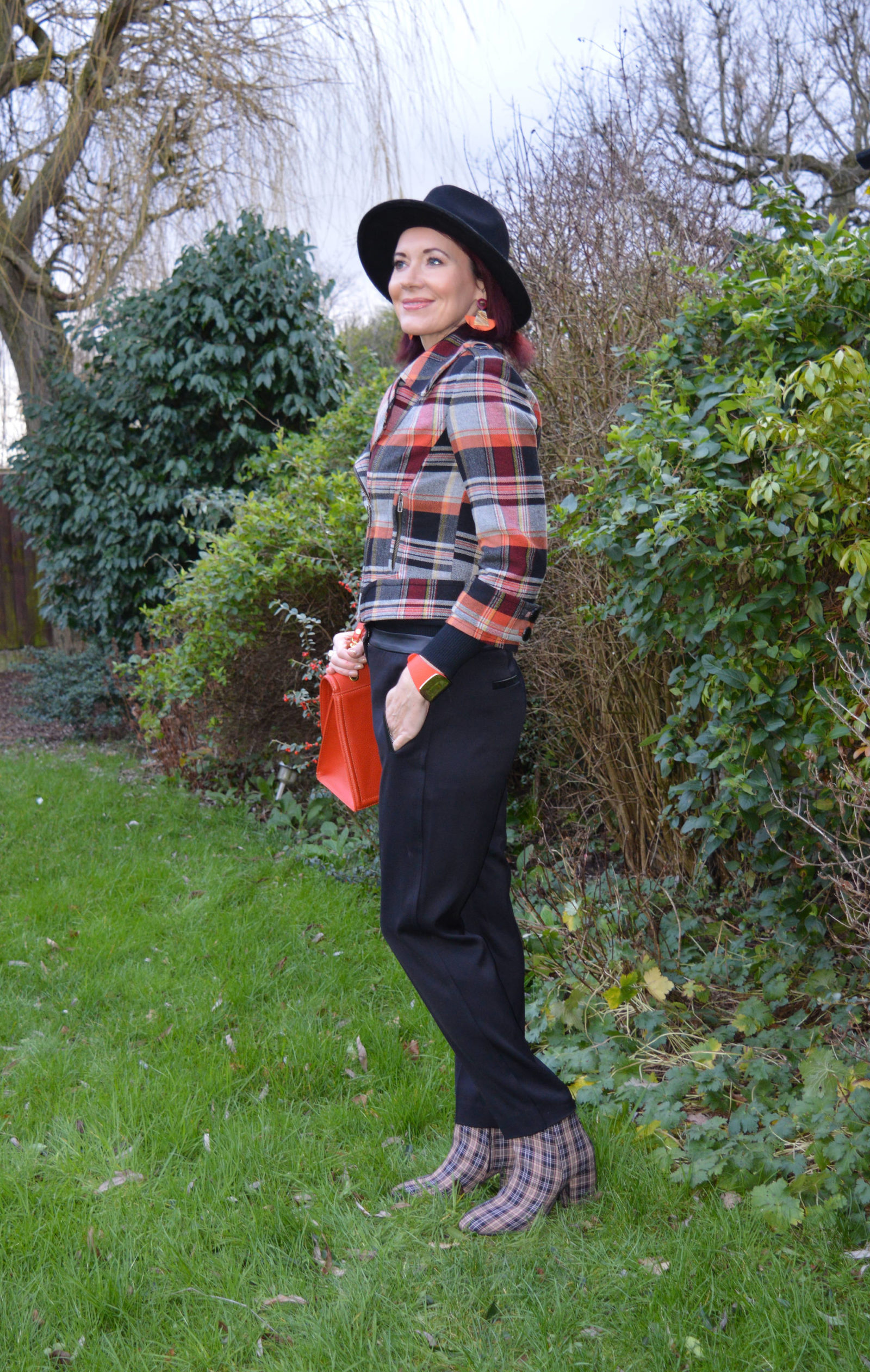 Tartan jacket and check ankle boots