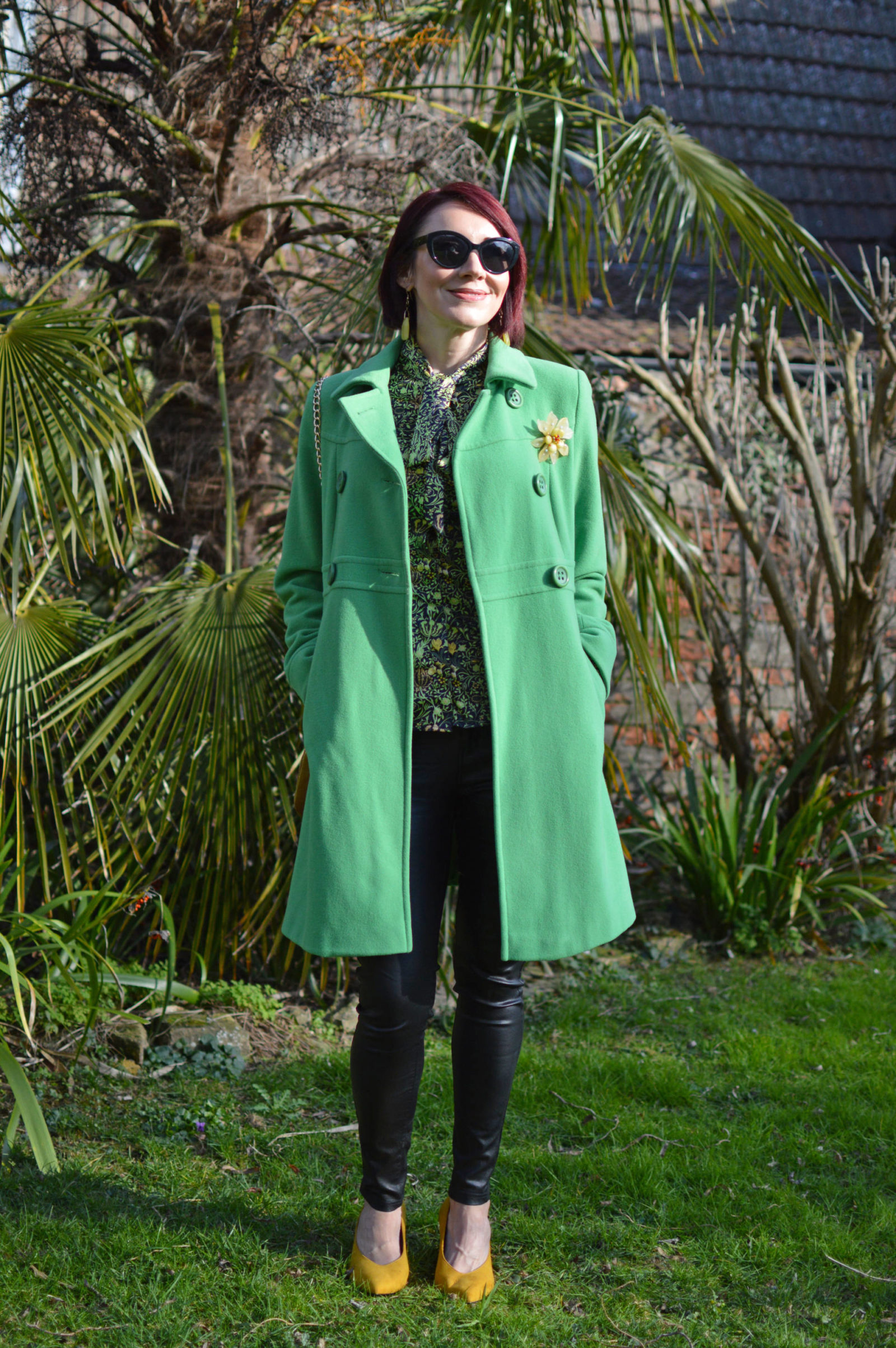 Style Not Age Spring Greens, Laura Ashley green coat, Pia flower brooch, Frontrow coated skinny jeans