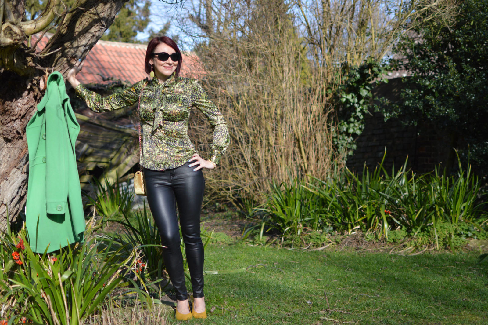 Style Not Age Spring Greens, Laura Ashley green coat, Pia flower brooch, Frontrow coated skinny jeans, Hawes & Curtis blouse