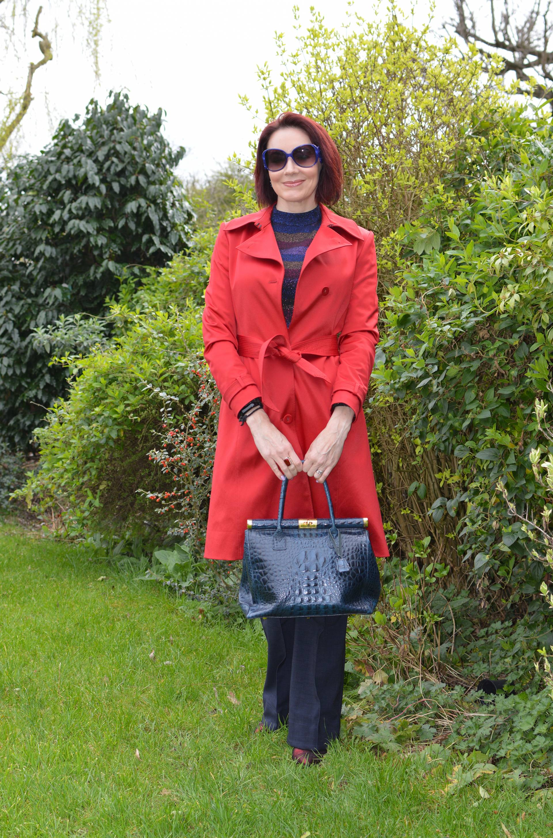 Sparkly Stripes and Bright Red Trench Coat + link up