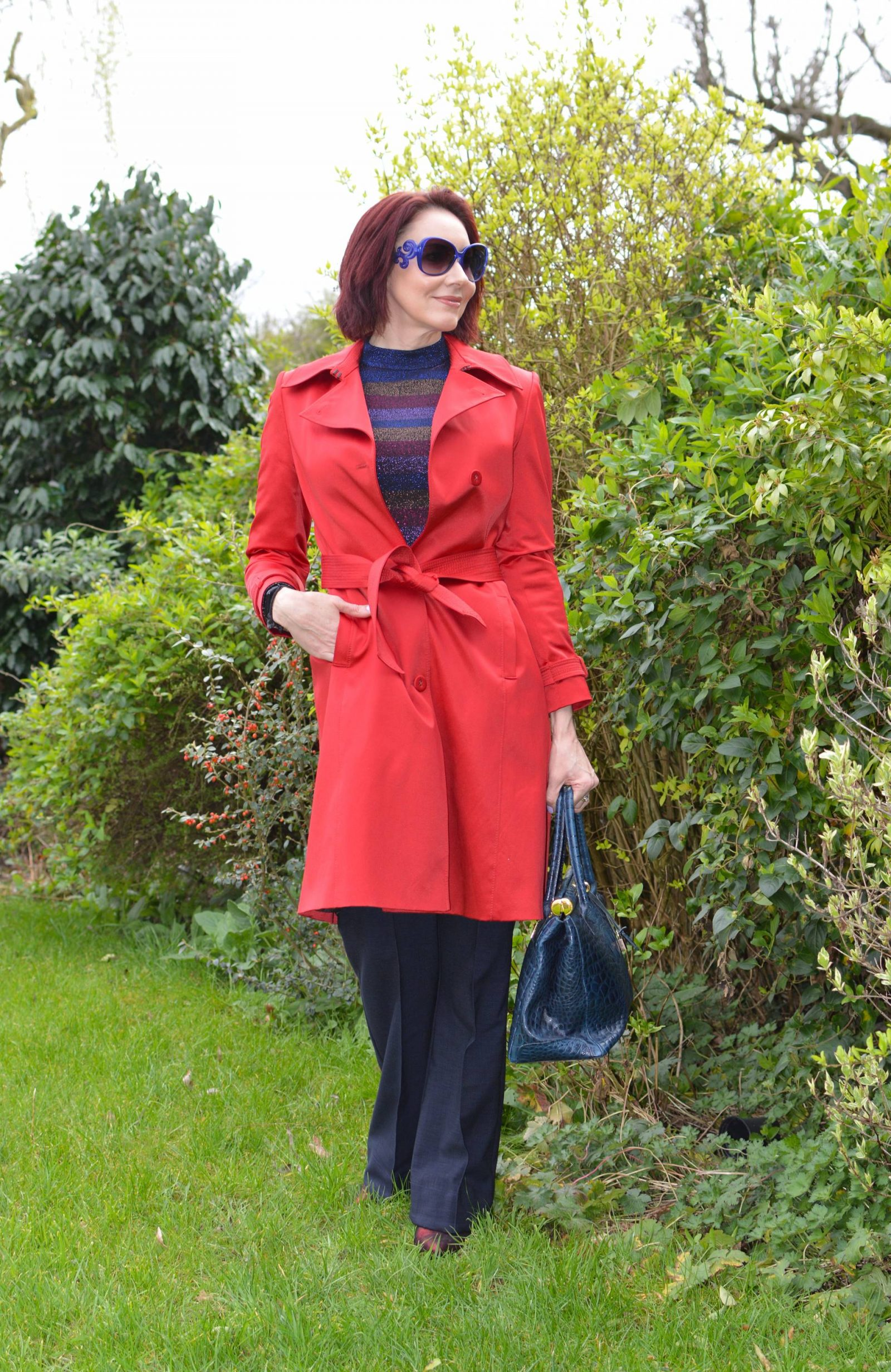 Sparkly Stripes and Bright Red Trench Coat, Oasis metallic stripe jumper, Finery Barby trousers, Biba red trench coat