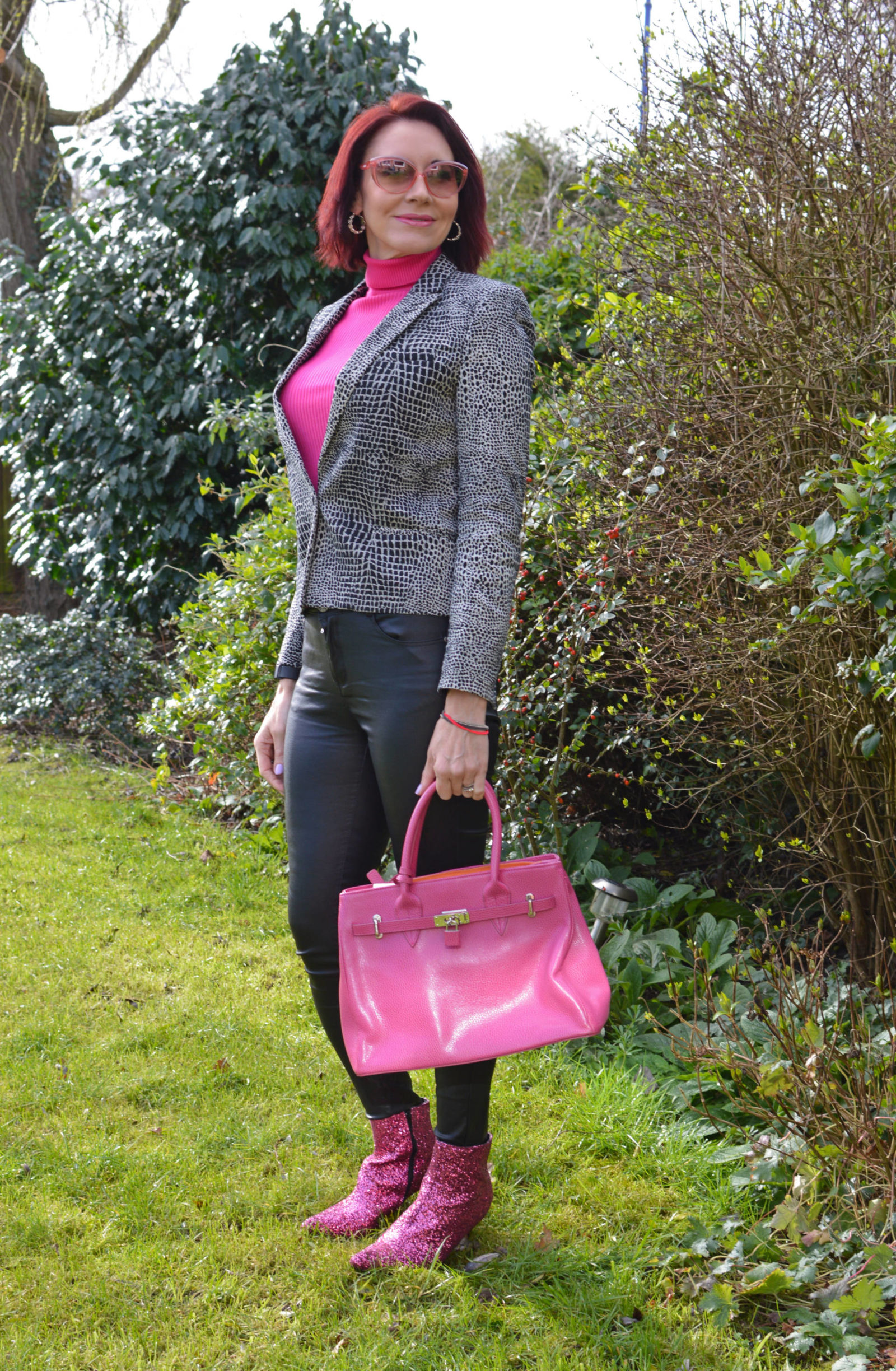 How to wear neon for a smart casual look, black and white The Kooples jacket, New Look meon pink rollneck jumper