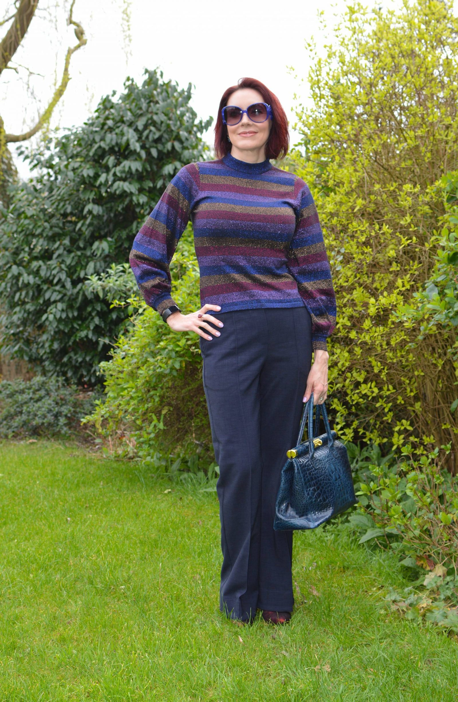 Sparkly stripes and navy trousers, Oasis metallic stripe jumper, Finery Barby trousers