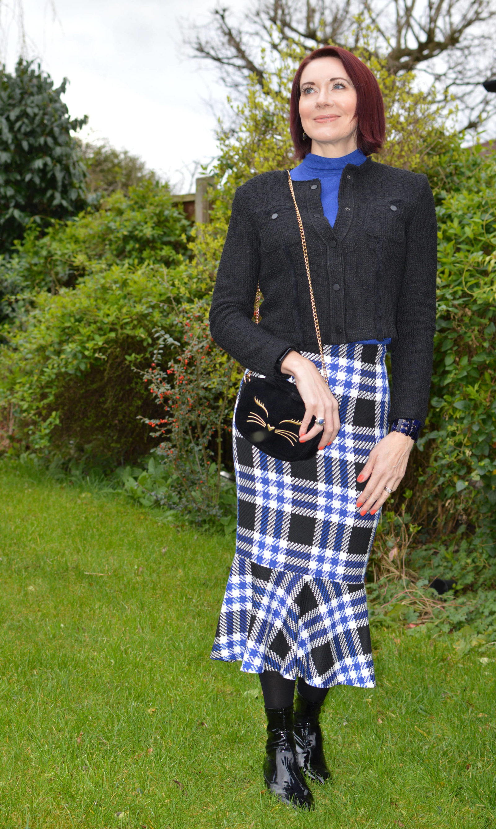 Marks & Spencer check fishtail skirt and Mango tweed jacket Asos velvet cat bag