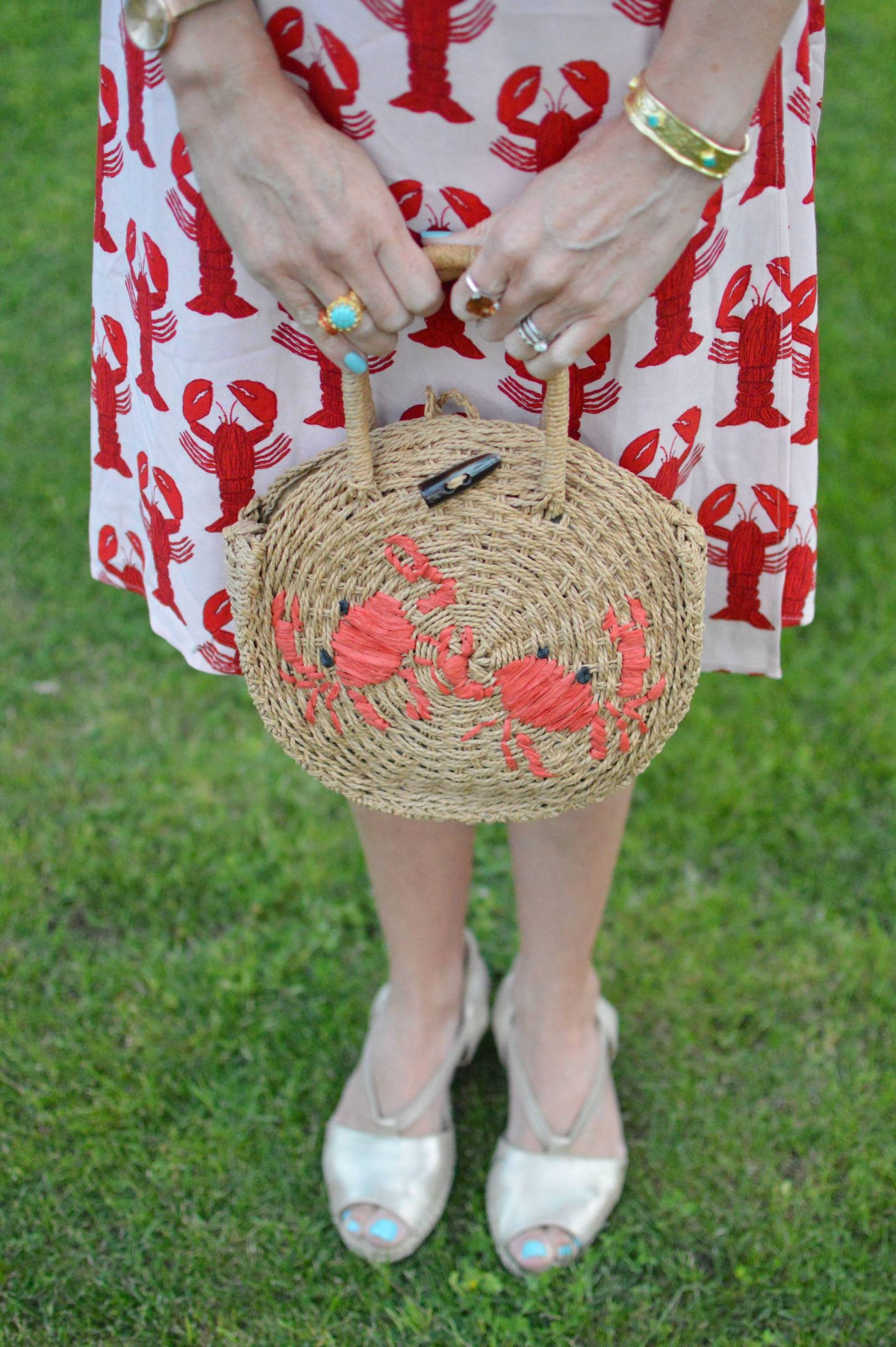 Fabienne Chapot Lobster Print Dress, Topshop straw crab bag, Ottoman hands turquoise ring, Azuni turquoise bangle