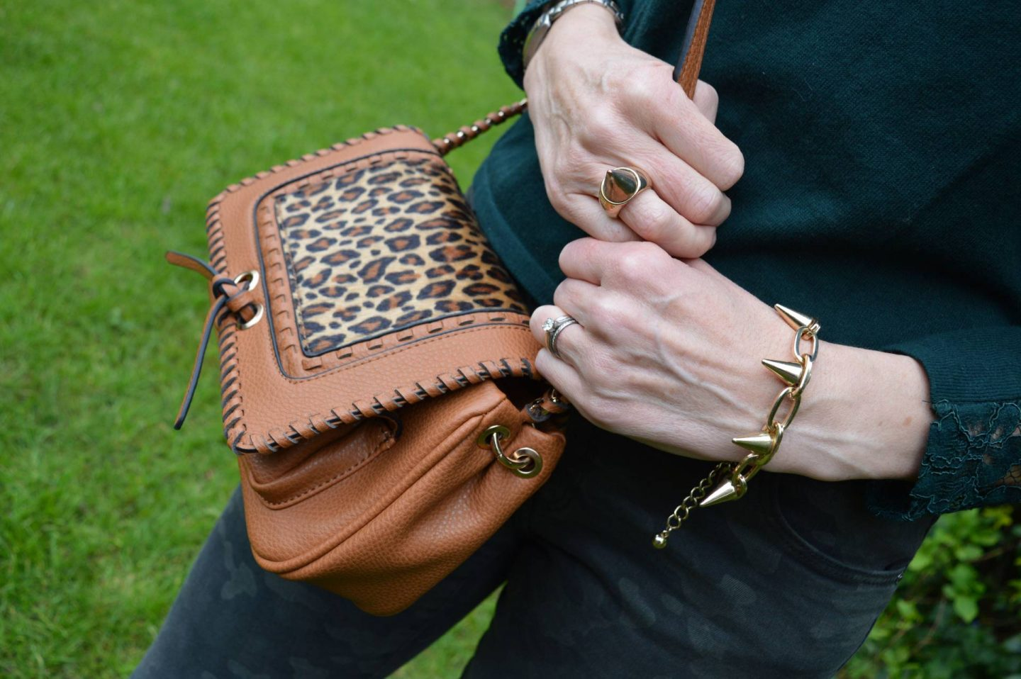 Scottage tan and leopard print crossbody bag