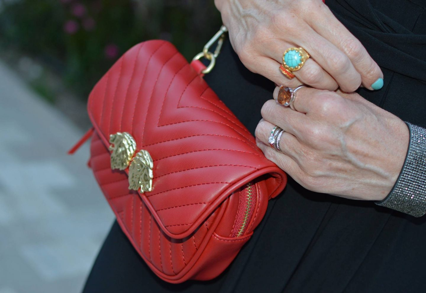 Match Made in Seven: Best of British, Ottoman Hands turquoise ring, Zara red multiway bag