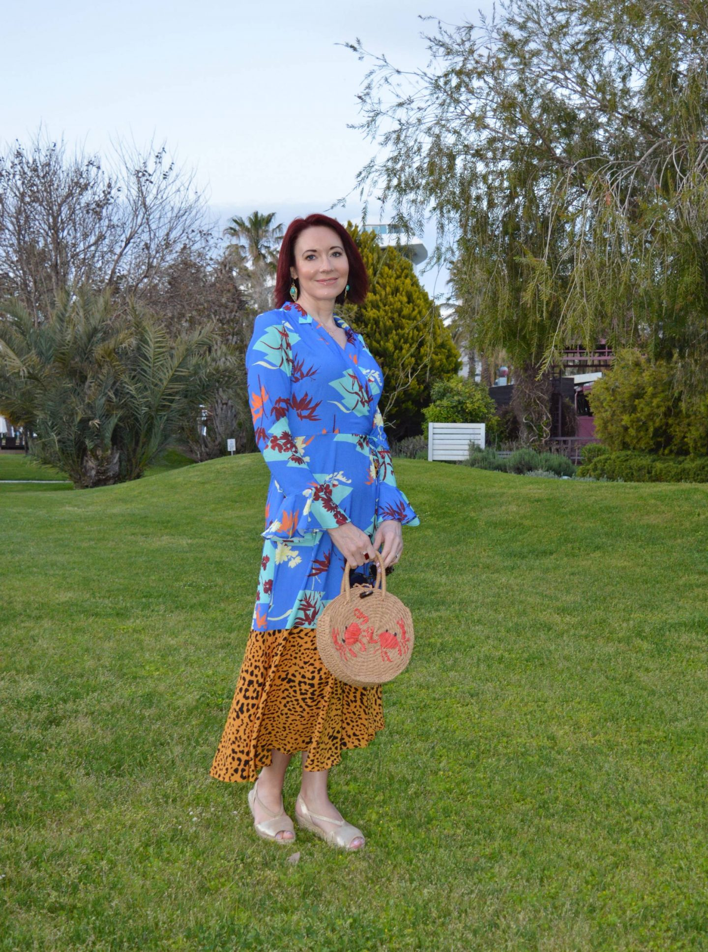 Asos Mixed Print Maxi Dress, Topshop straw crab motif bag