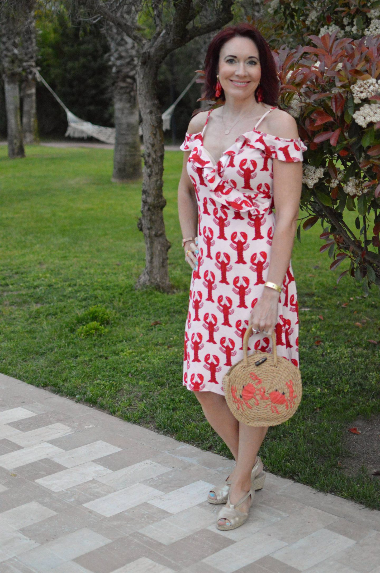 Fabienne Chapot Lobster Print Dress, Topshop straw crab bag