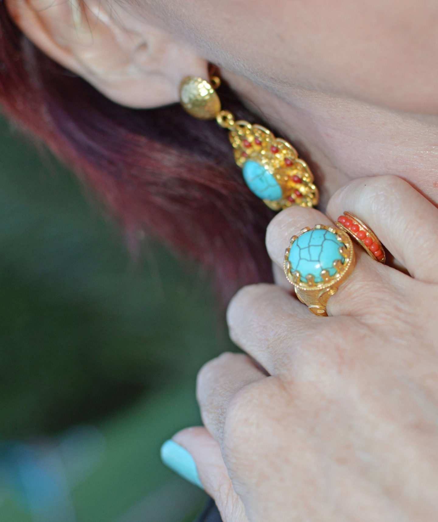 Match Made in Seven: Best of British, Ottoman Hands turquoise ring and earrings
