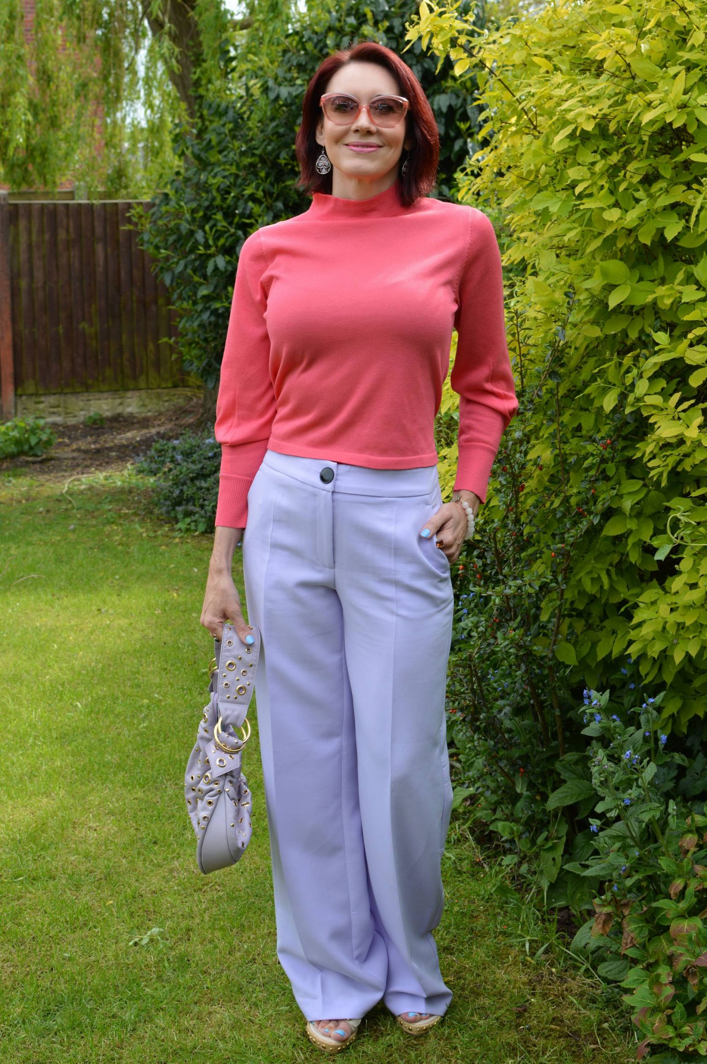 Style Not Age Spring Pastels, Mango lilac trousers, pink Marks & Spencer pink tie back top
